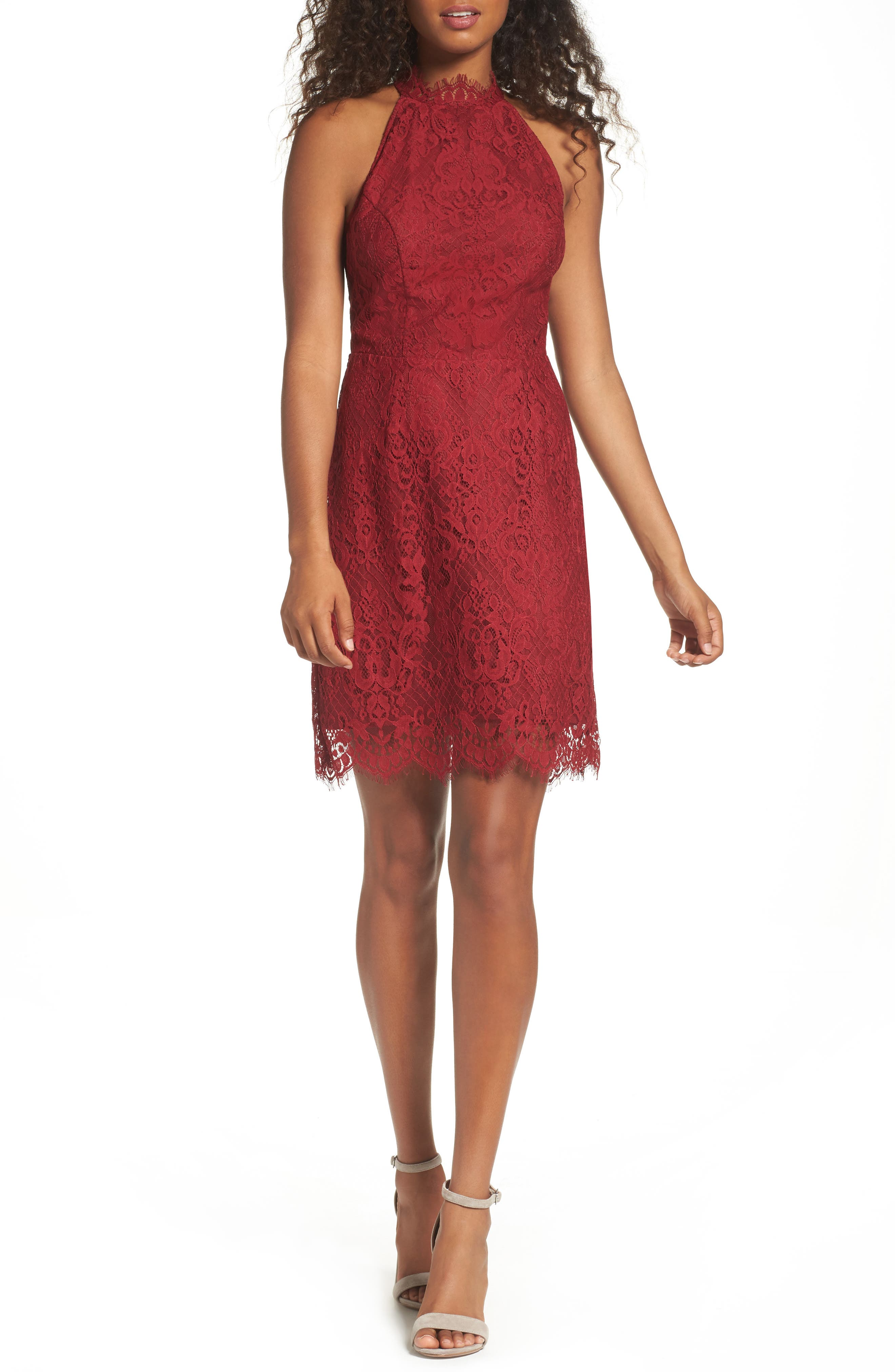 Cherie Lace Sheath Dress,                             Main thumbnail 1, color,                             Pomegranate