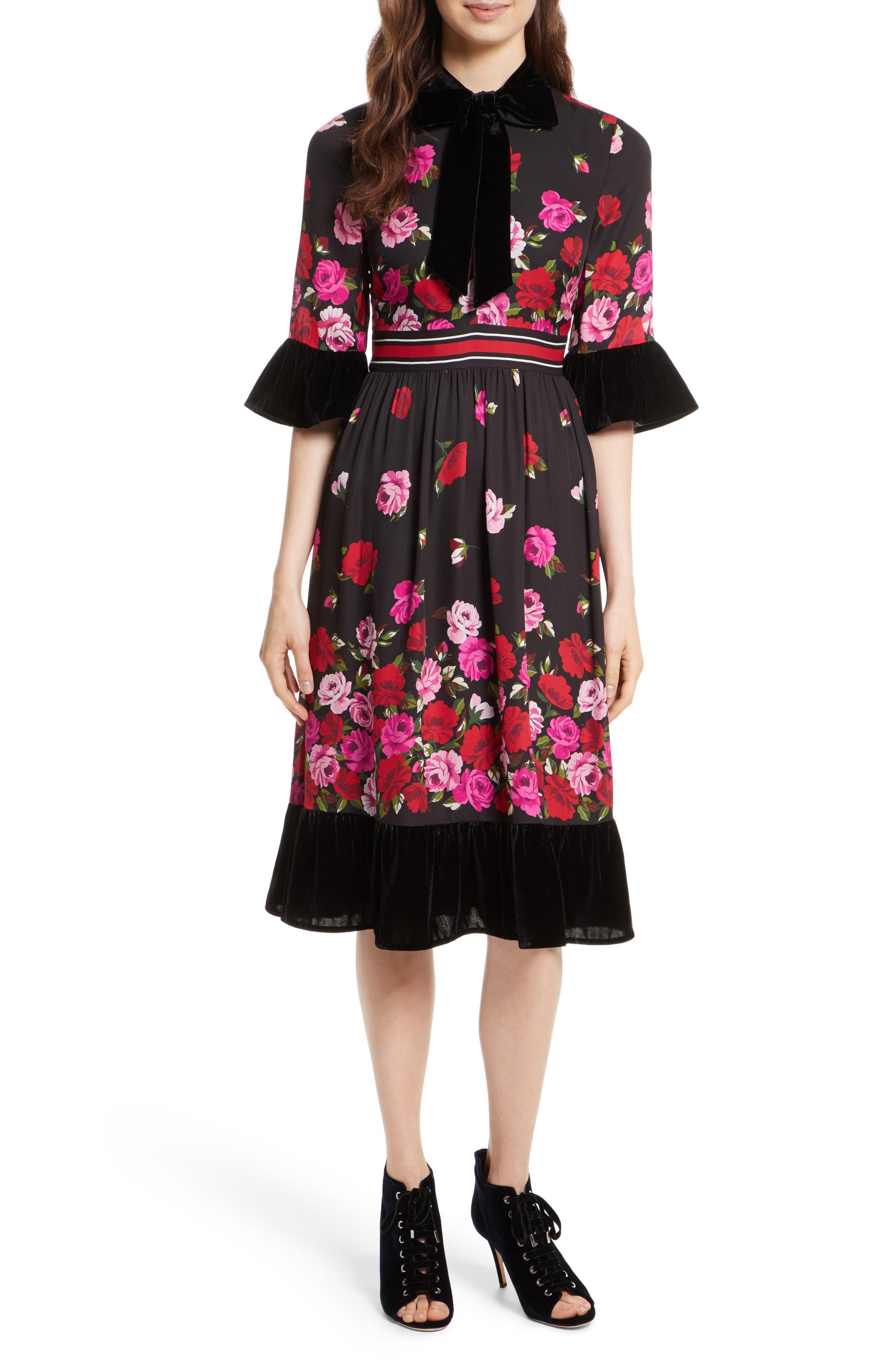 scattered rose velvet trim silk dress,                         Main,                         color, Black Multi