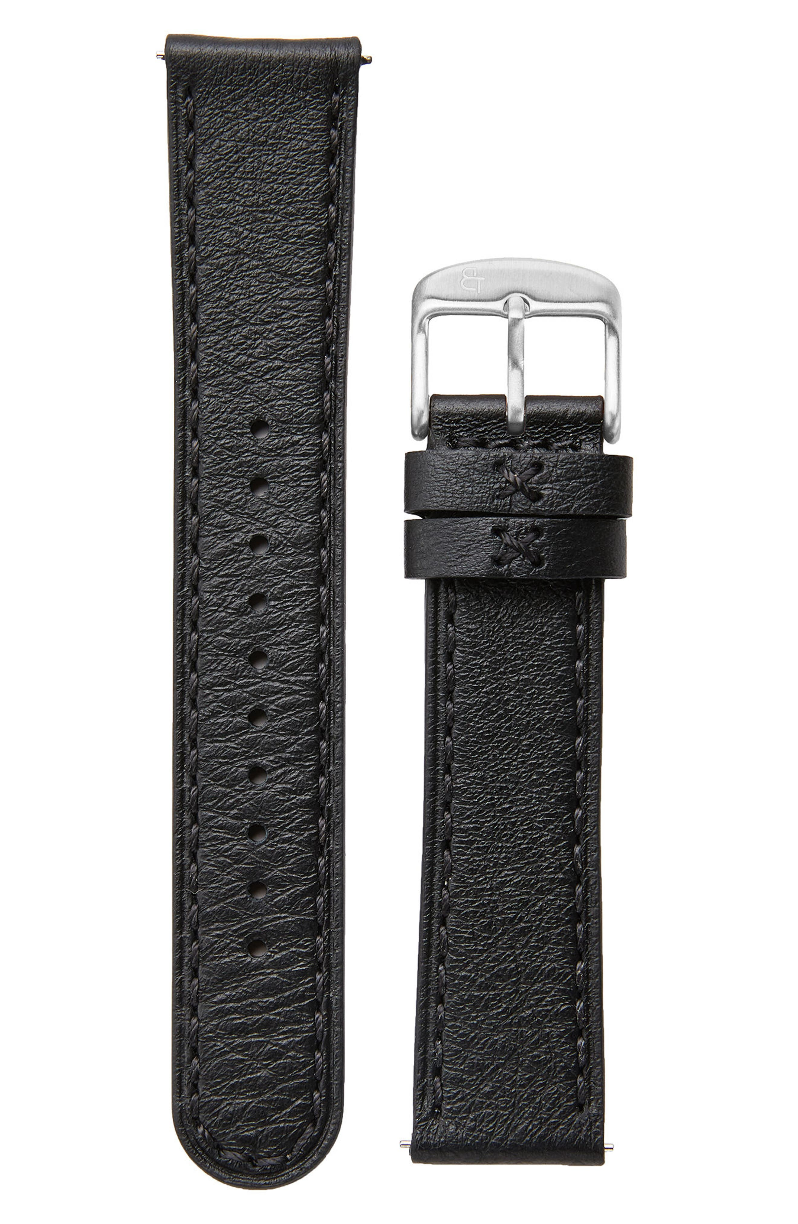 Leather Watch Strap, 20mm,                             Main thumbnail 1, color,                             Black