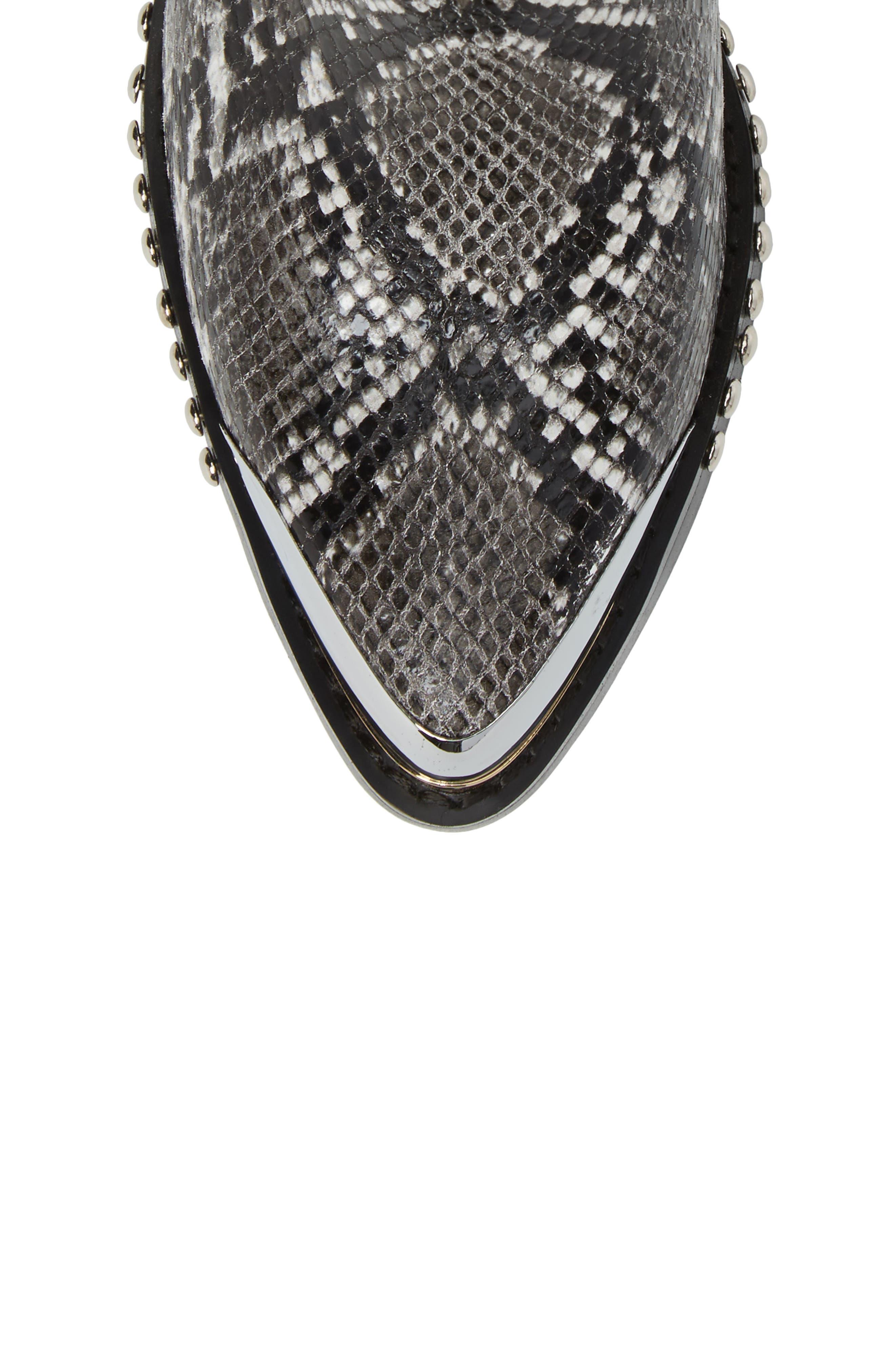 Verdant Studded Snakeskin Embossed Bootie,                             Alternate thumbnail 5, color,                             Black Grey Snake Silver
