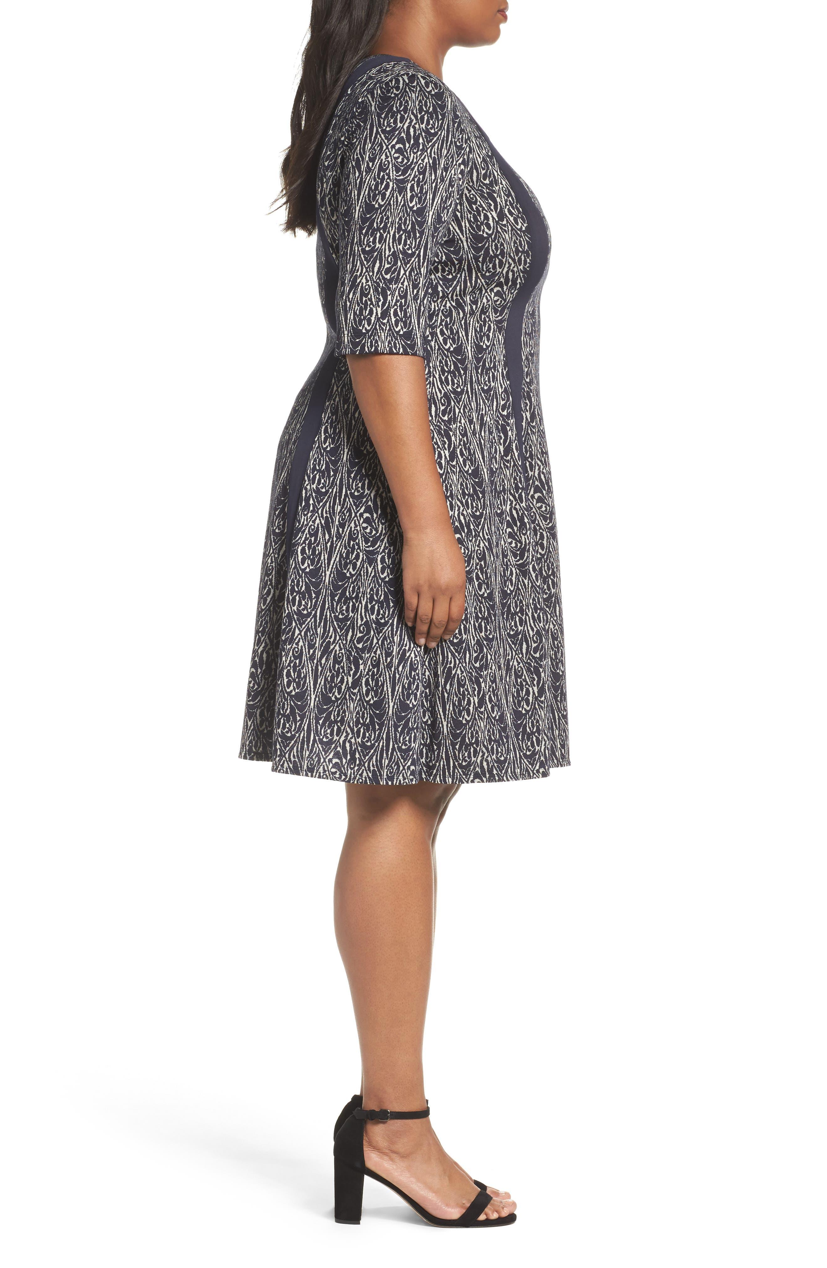 Jacquard Knit A-Line Dress,                             Alternate thumbnail 3, color,                             Navy/ Ivory