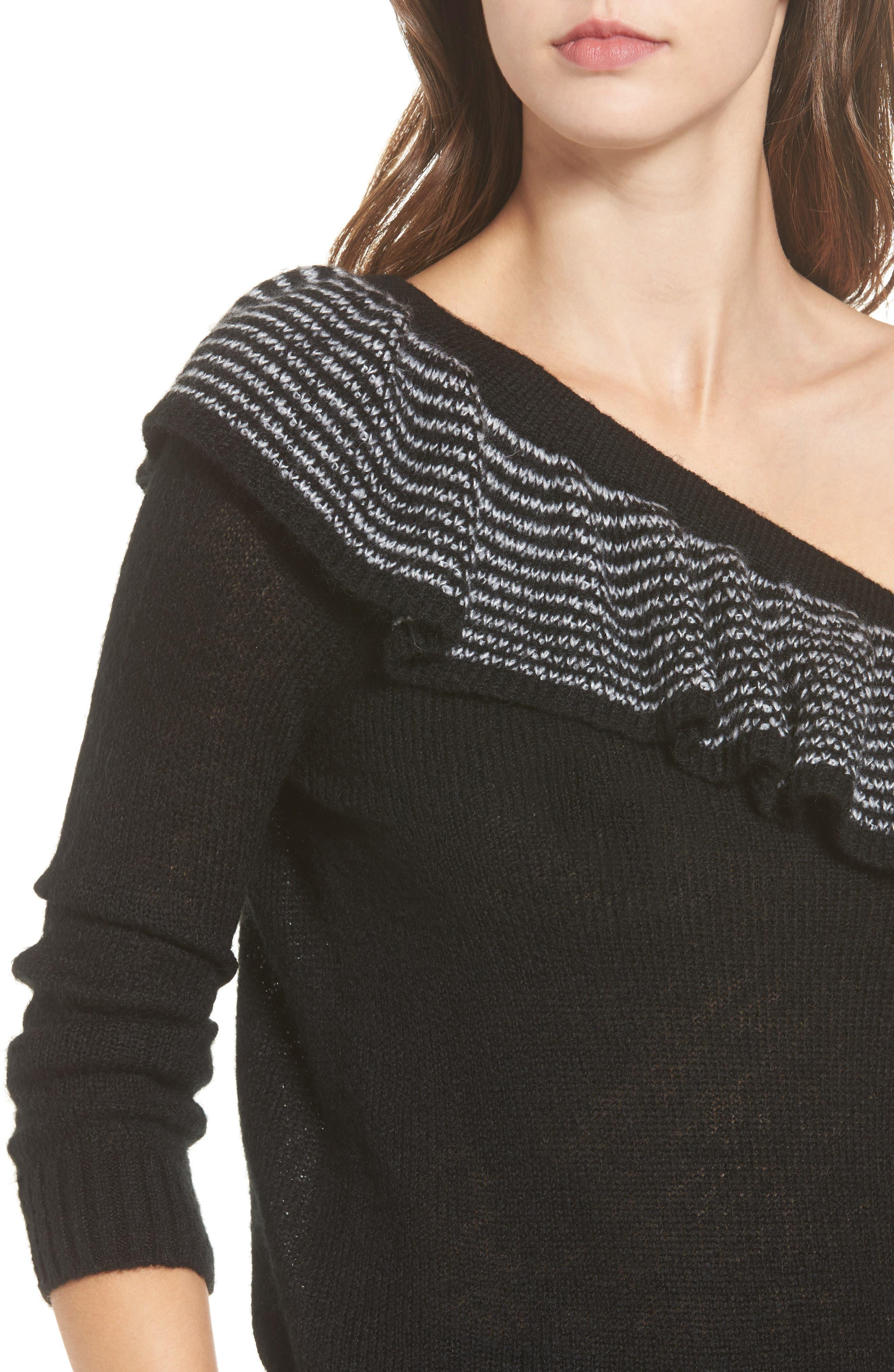 Ruffle One-Shoulder Sweater,                             Alternate thumbnail 4, color,                             Black