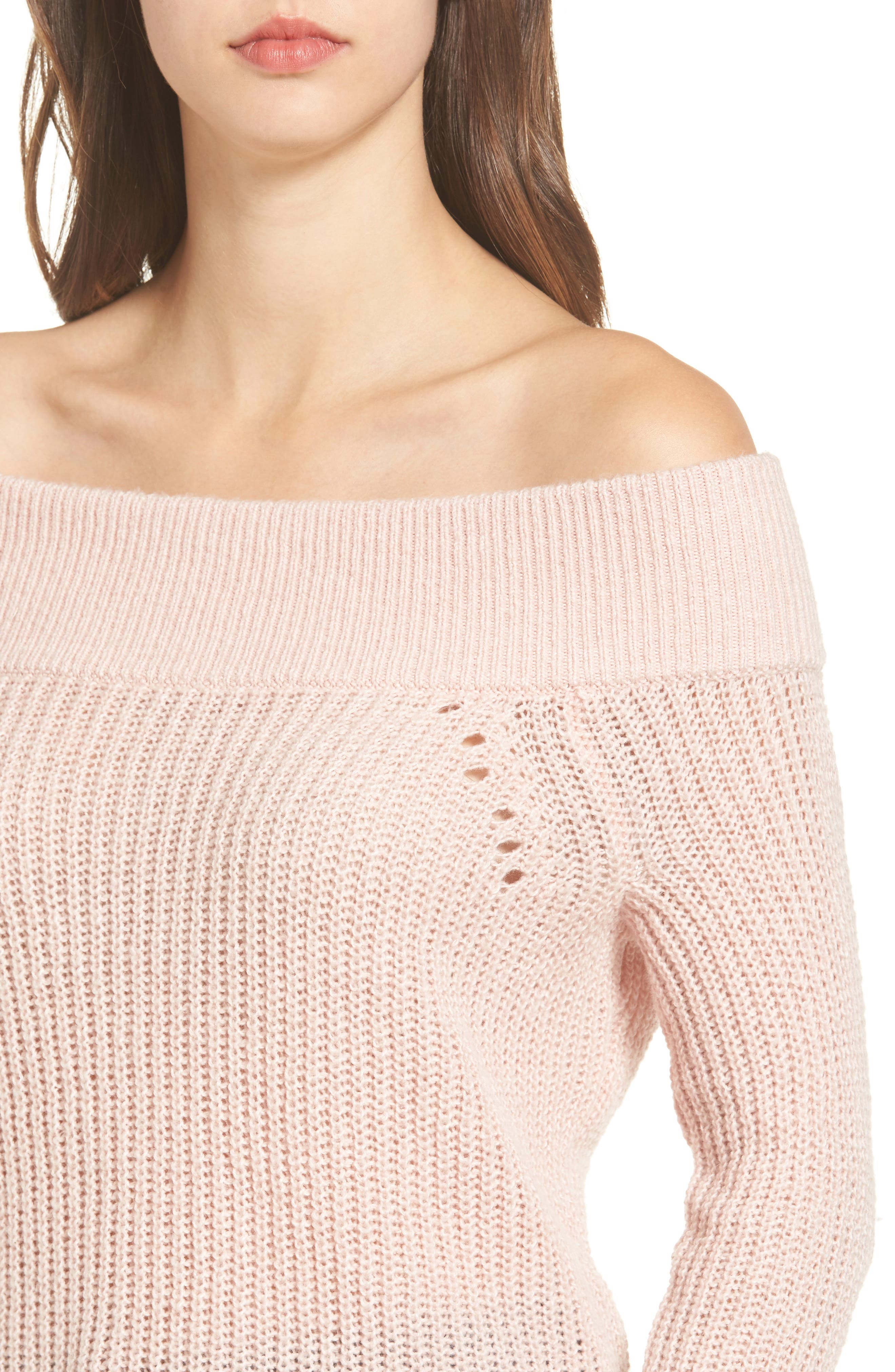 Lofty Off the Shoulder Pullover,                             Alternate thumbnail 3, color,                             Pink Smoke