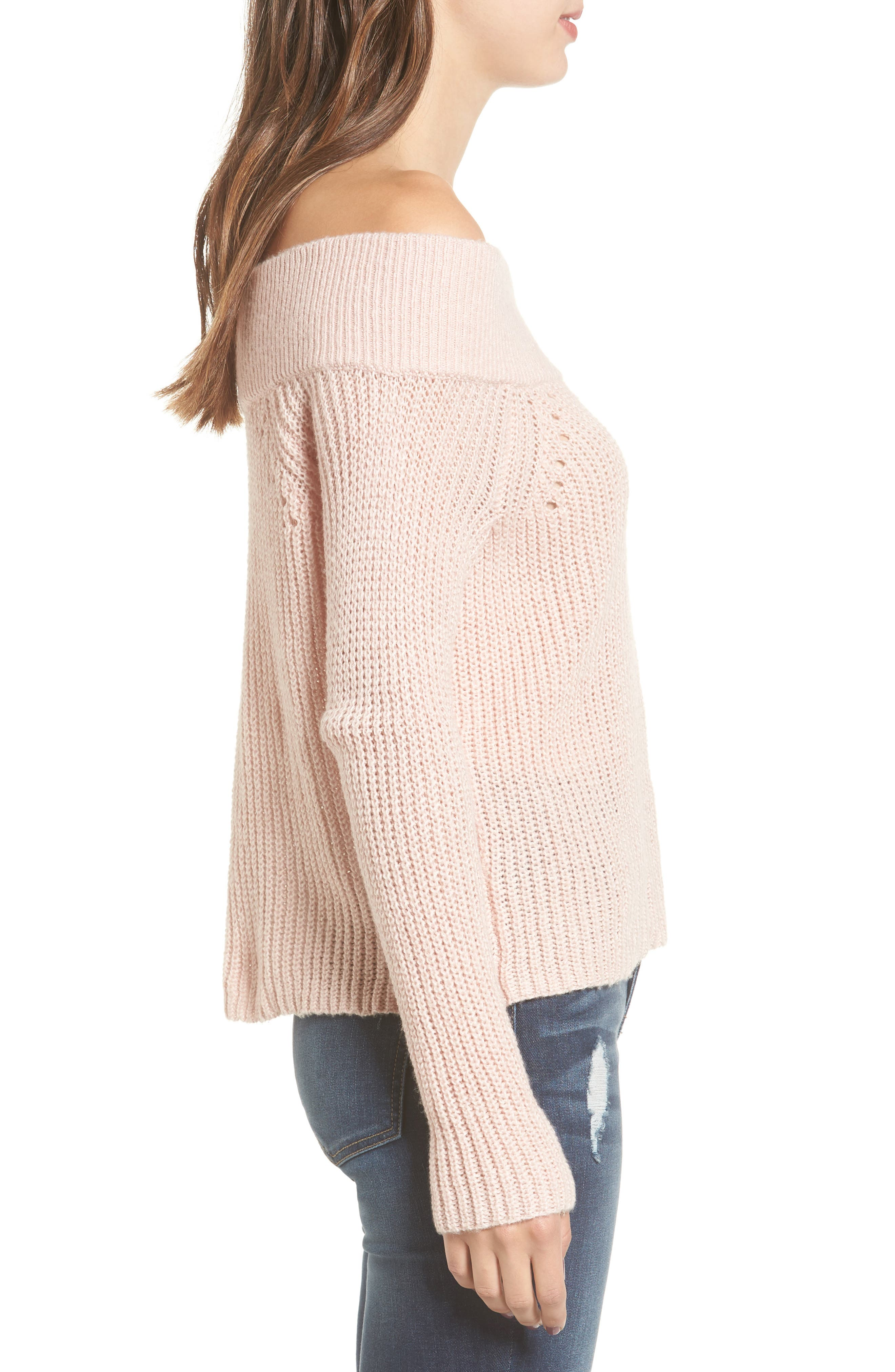 Lofty Off the Shoulder Pullover,                             Alternate thumbnail 4, color,                             Pink Smoke