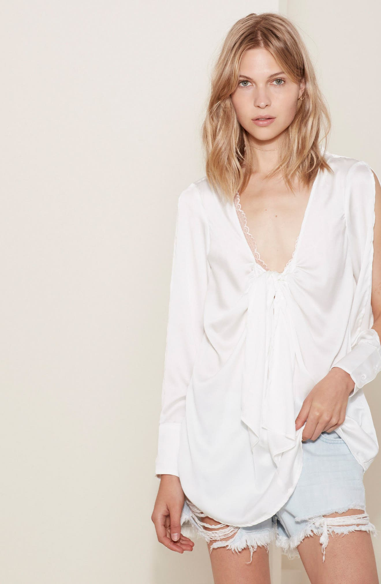 Knotted Hammered Satin Blouse,                             Alternate thumbnail 2, color,                             Ivory