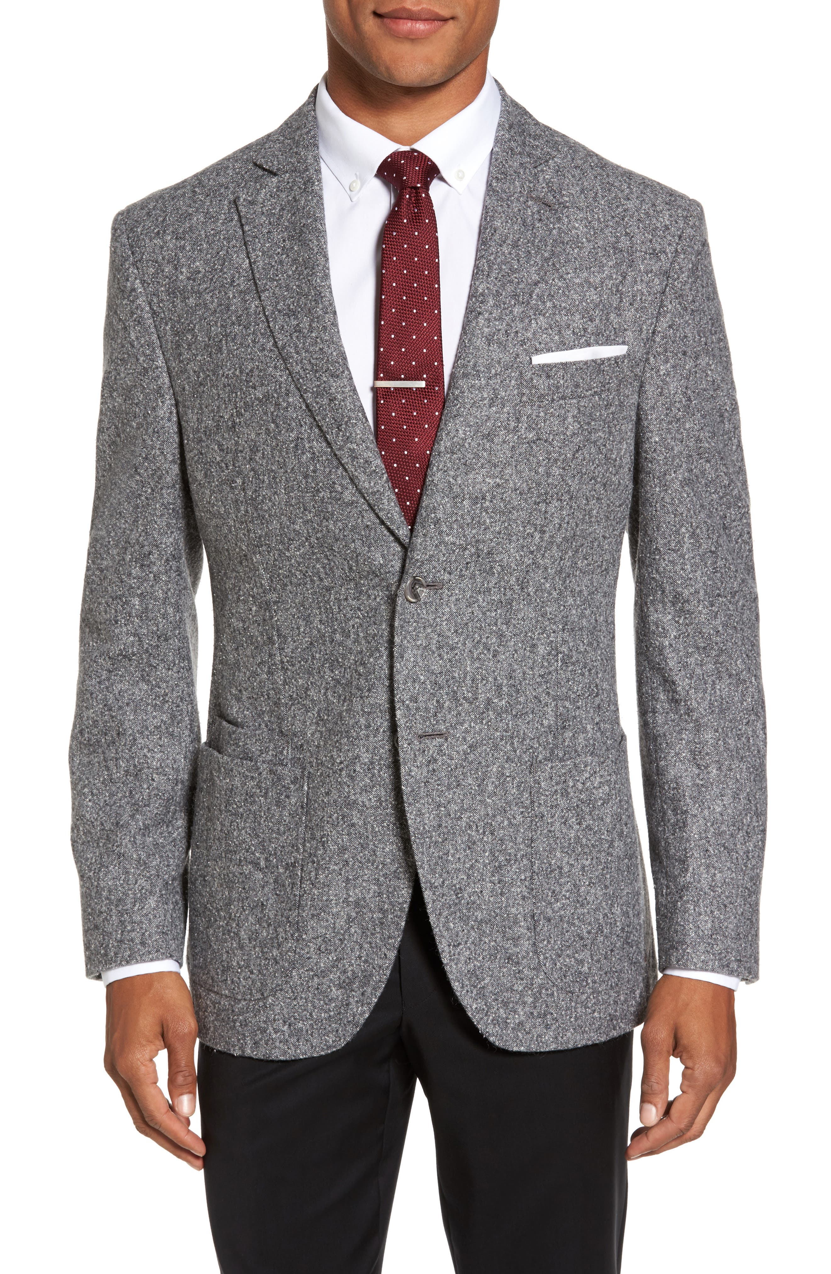 Trim Fit Donegal Wool Blend Sport Coat,                         Main,                         color, Grey