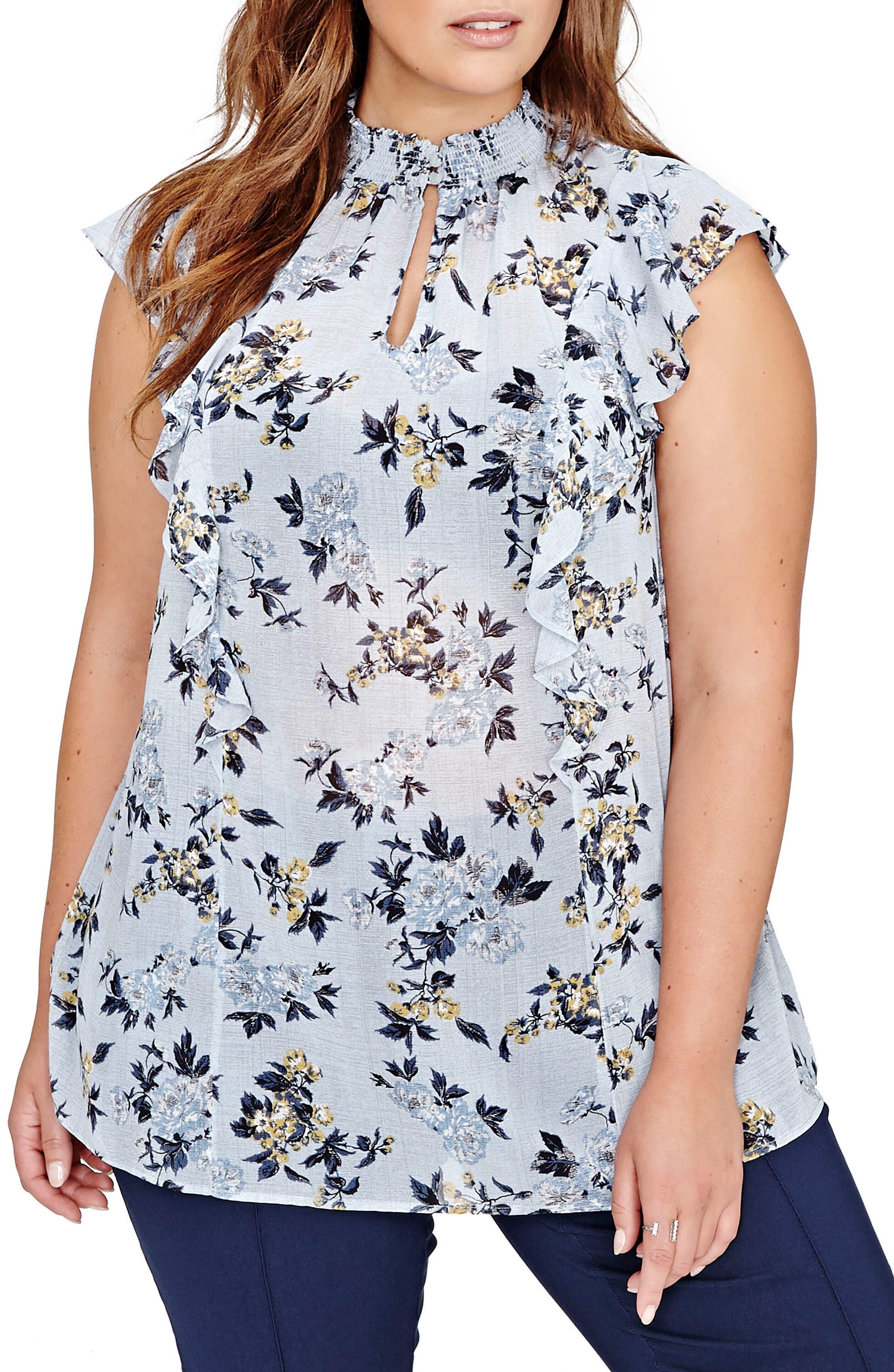 Main Image - Michel Studio Floral Swing Blouse (Plus Size)
