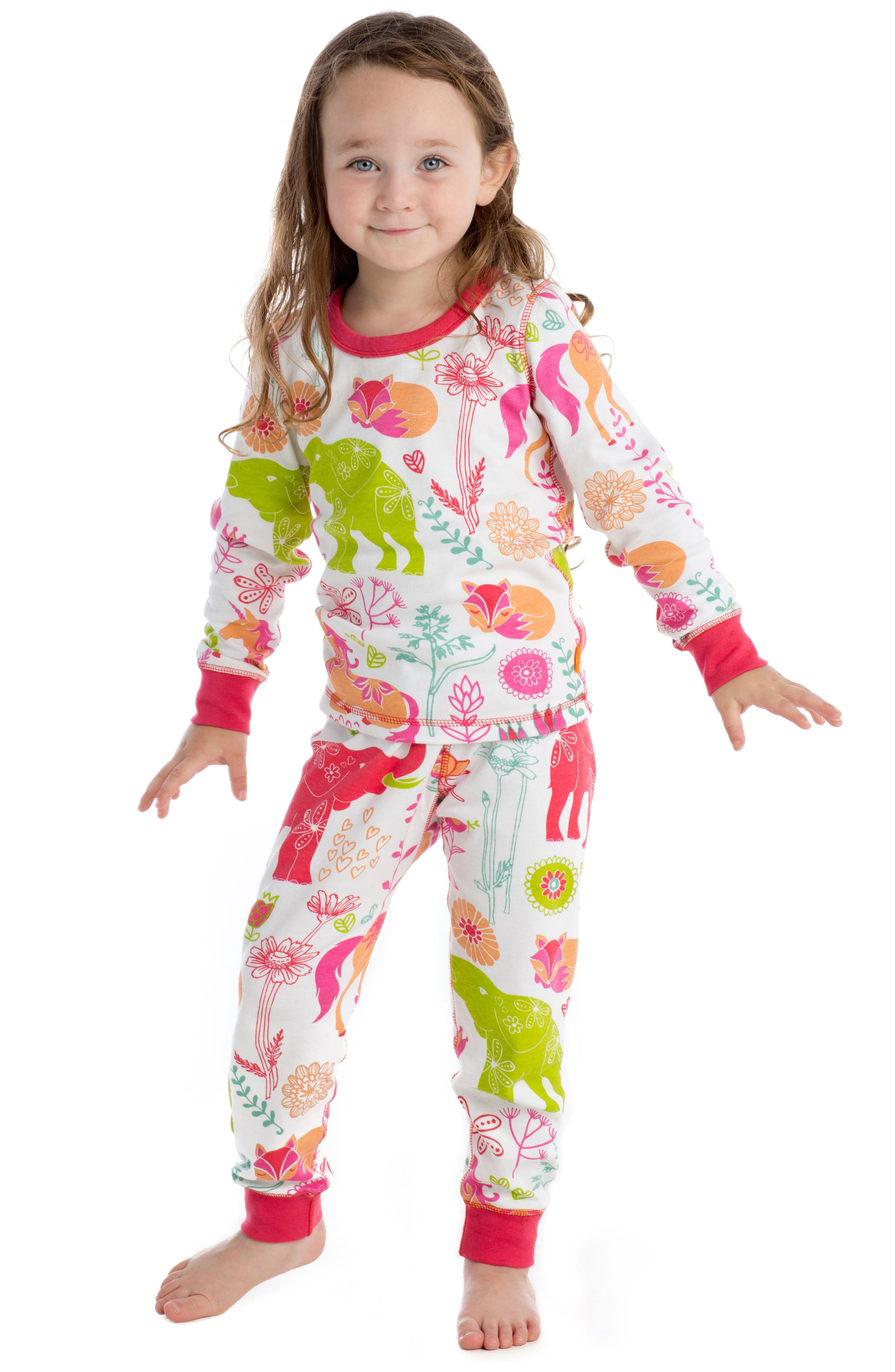 Magical Forest Fitted Two-Piece Pajamas,                             Alternate thumbnail 3, color,                             Pink