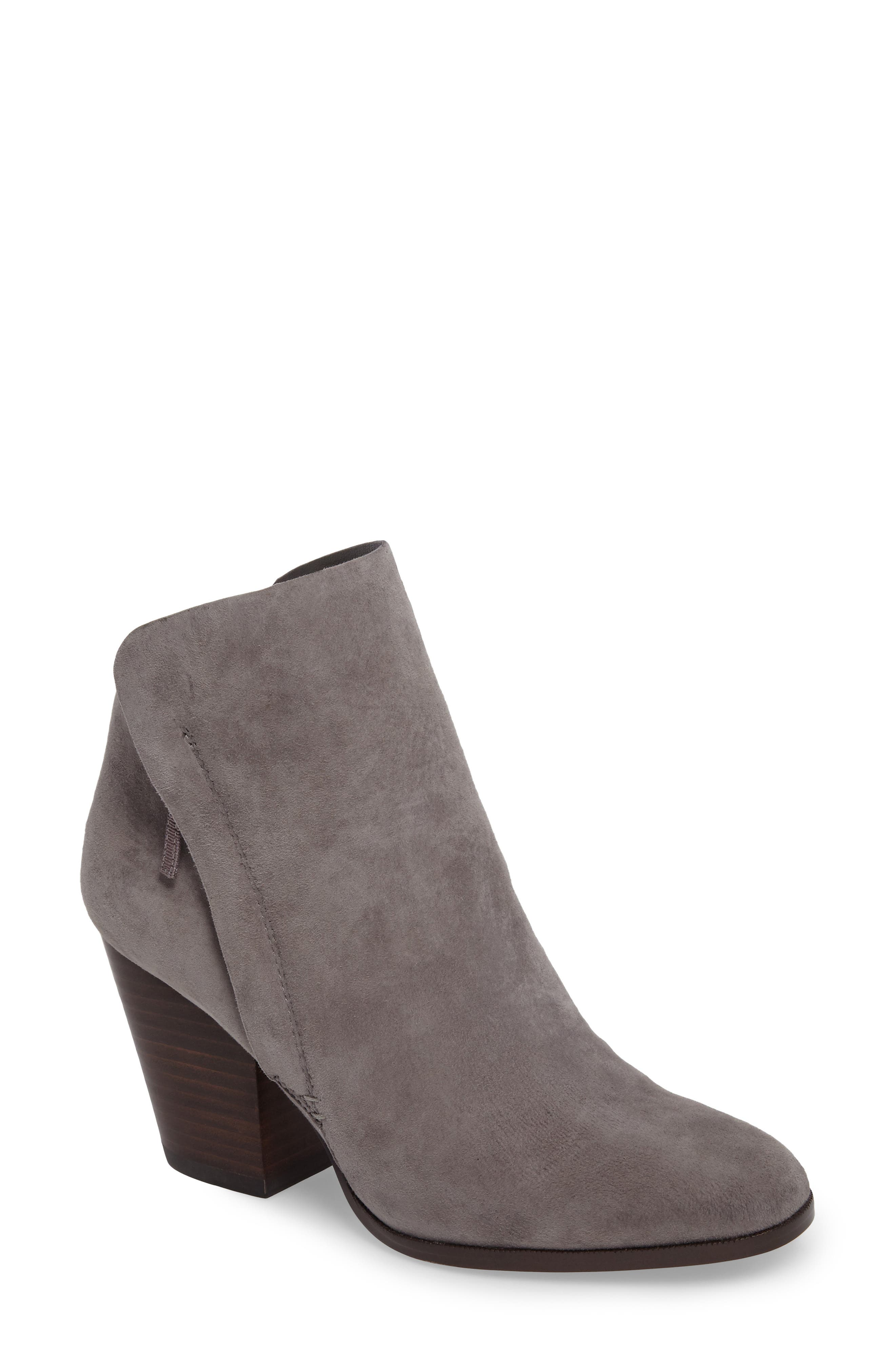 Taila Angle Zip Bootie,                             Main thumbnail 1, color,                             Iron Suede