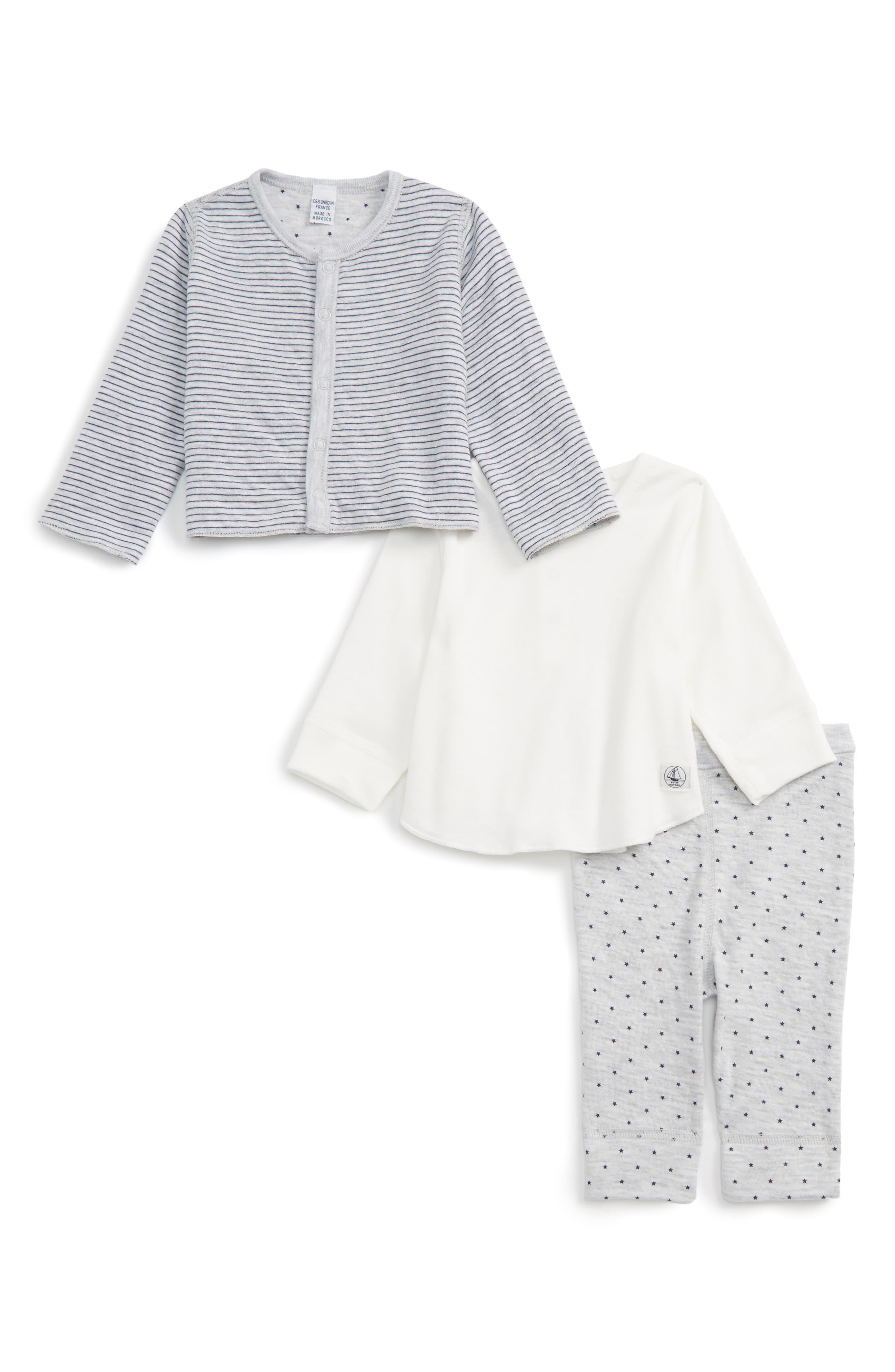 Main Image - Petit Bateau Jacket, Tee & Pants Set (Baby Girls)