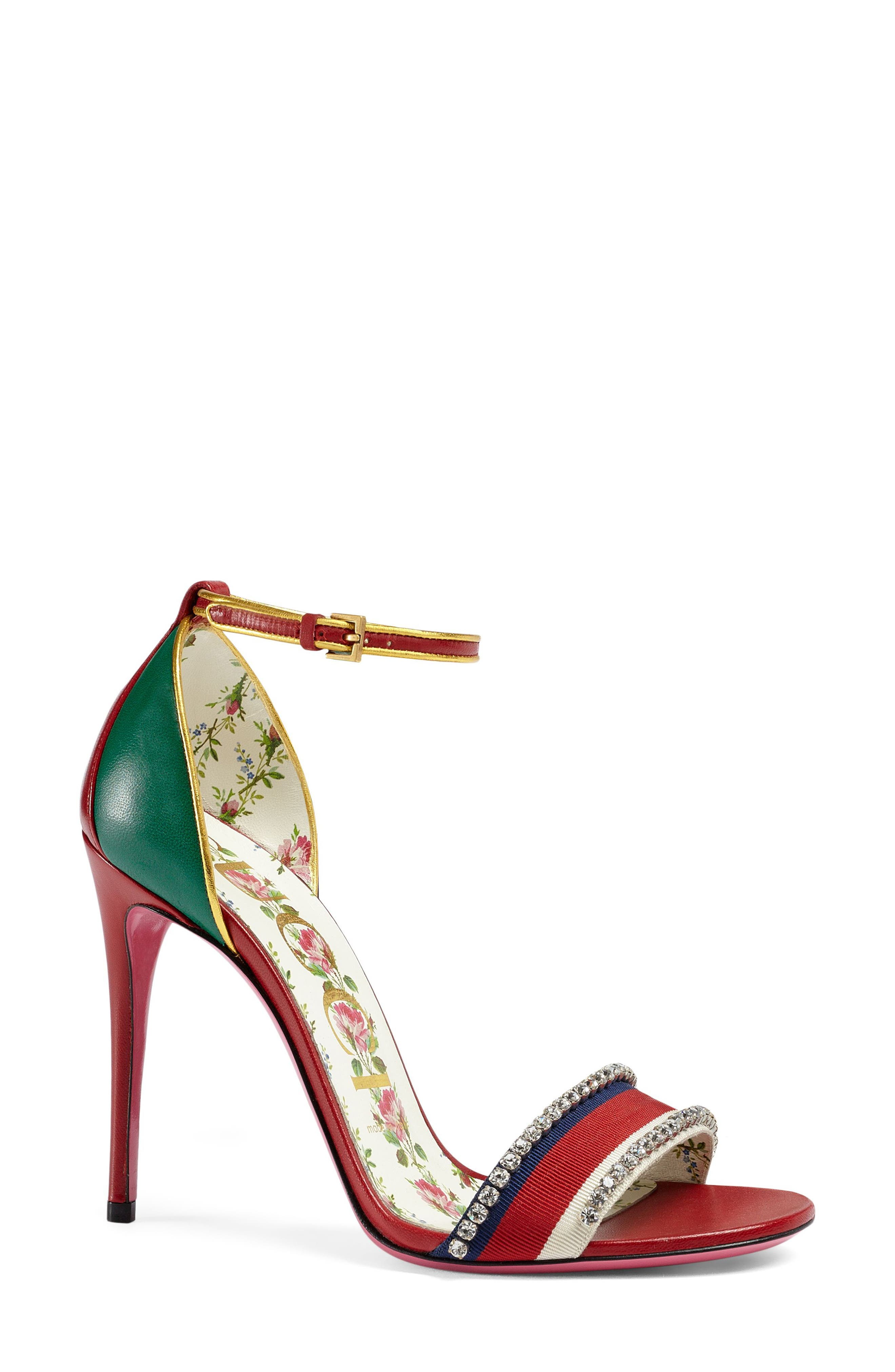 Gucci Women's Ilse Crystal Embellished Ankle Strap Sandal v83uFB5