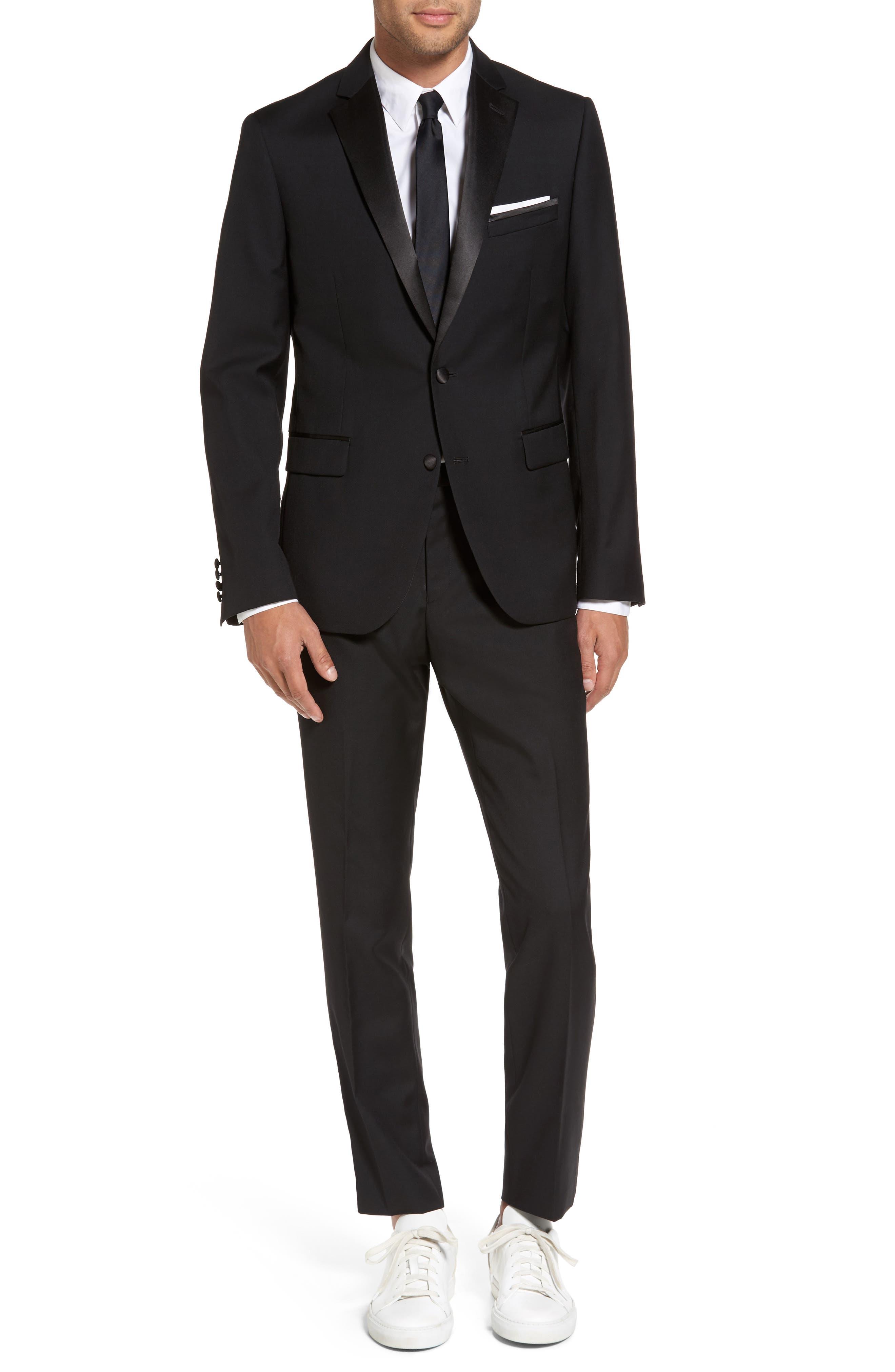Trim Fit Wool Blend Tuxedo,                             Main thumbnail 1, color,                             Black