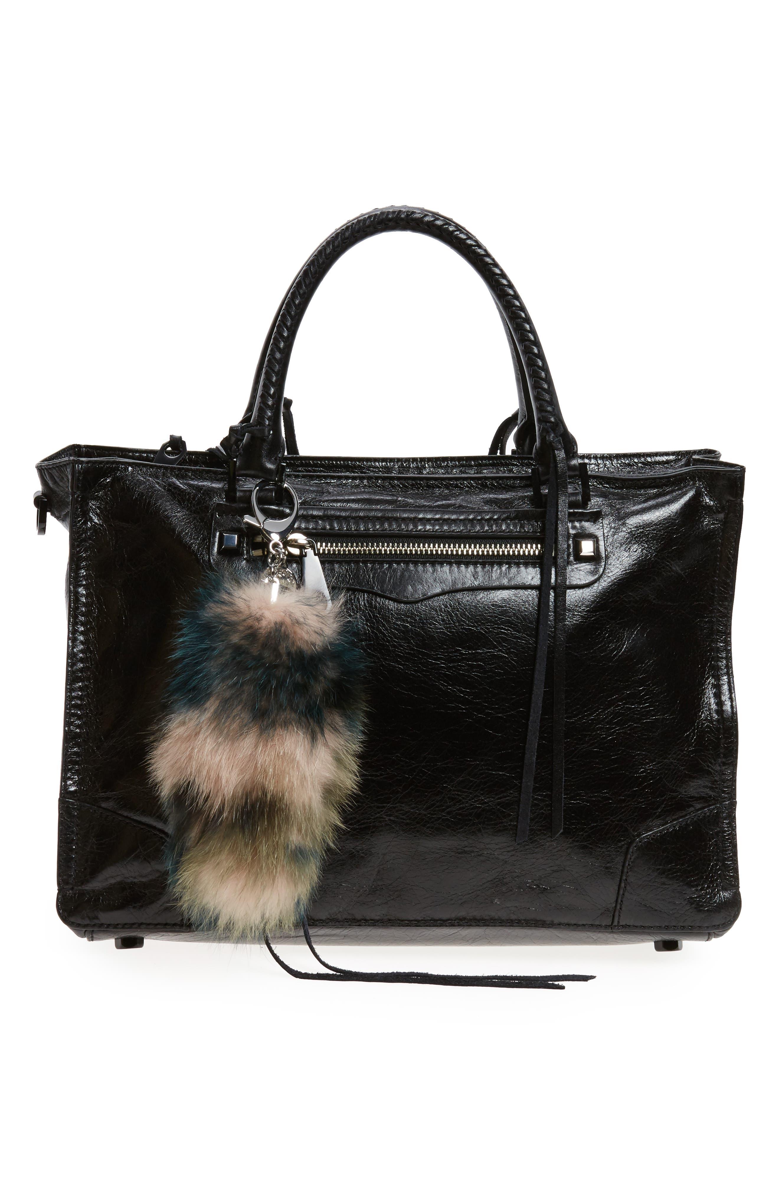 Genuine Fox Fur Bag Charm,                             Alternate thumbnail 2, color,                             Pink/ Green Combo