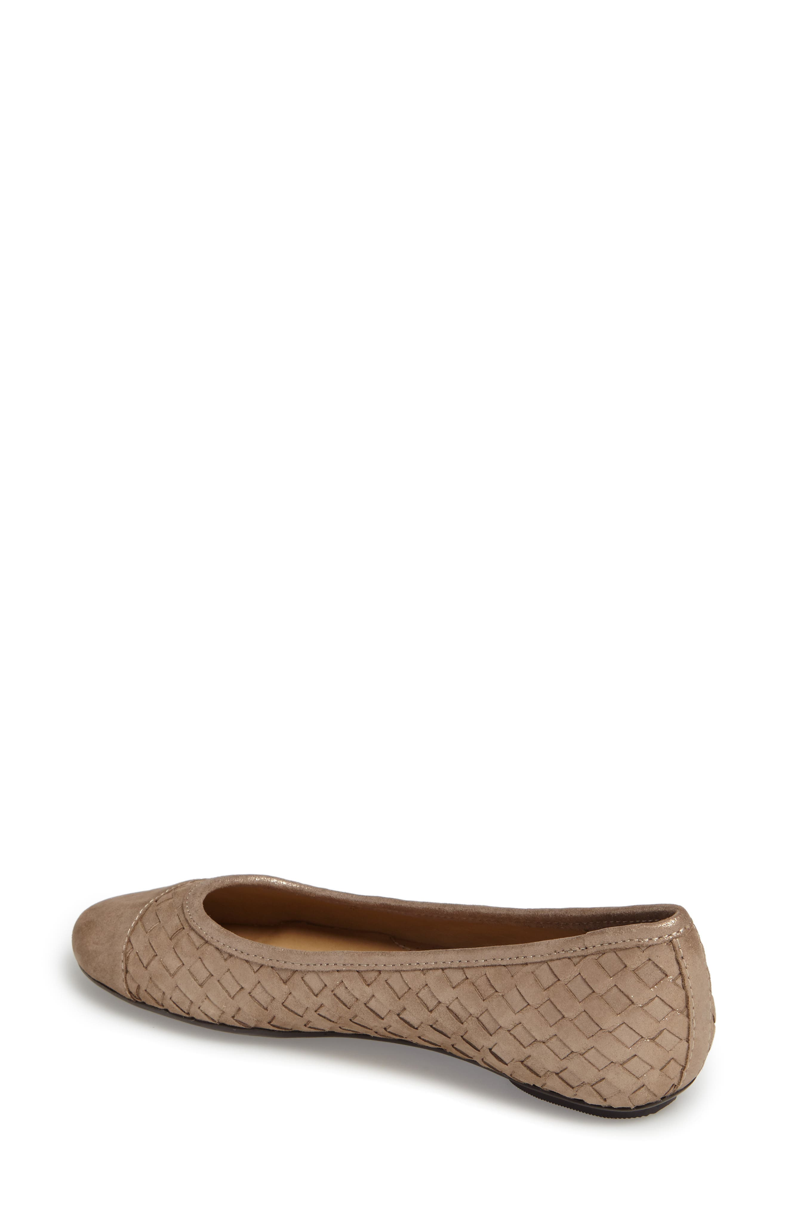 Shera Woven Skimmer Flat,                             Alternate thumbnail 2, color,                             Taupe Suede