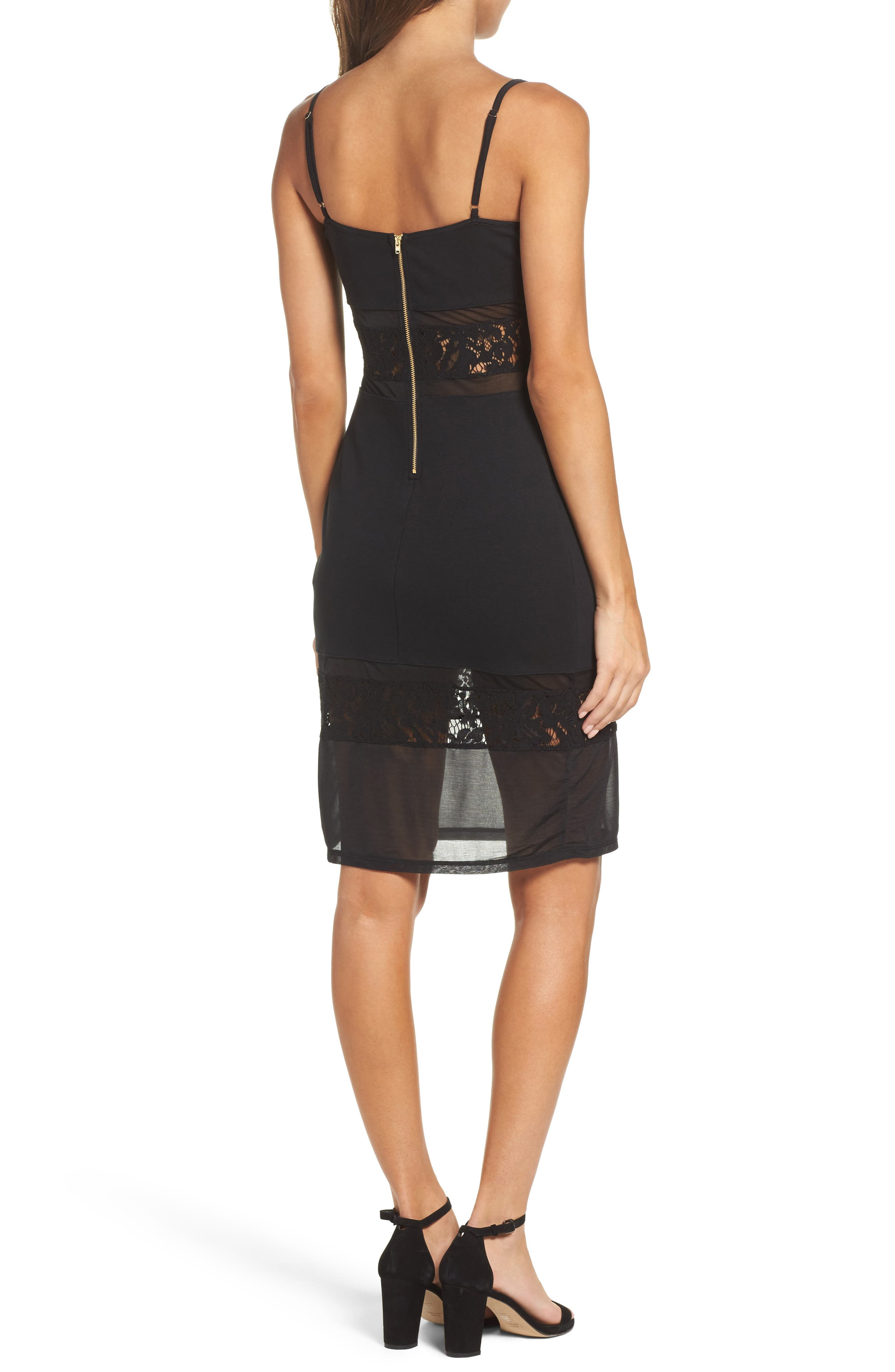 Lucky Layer Embroidered Mesh Sheath Dress,                             Alternate thumbnail 2, color,                             Black