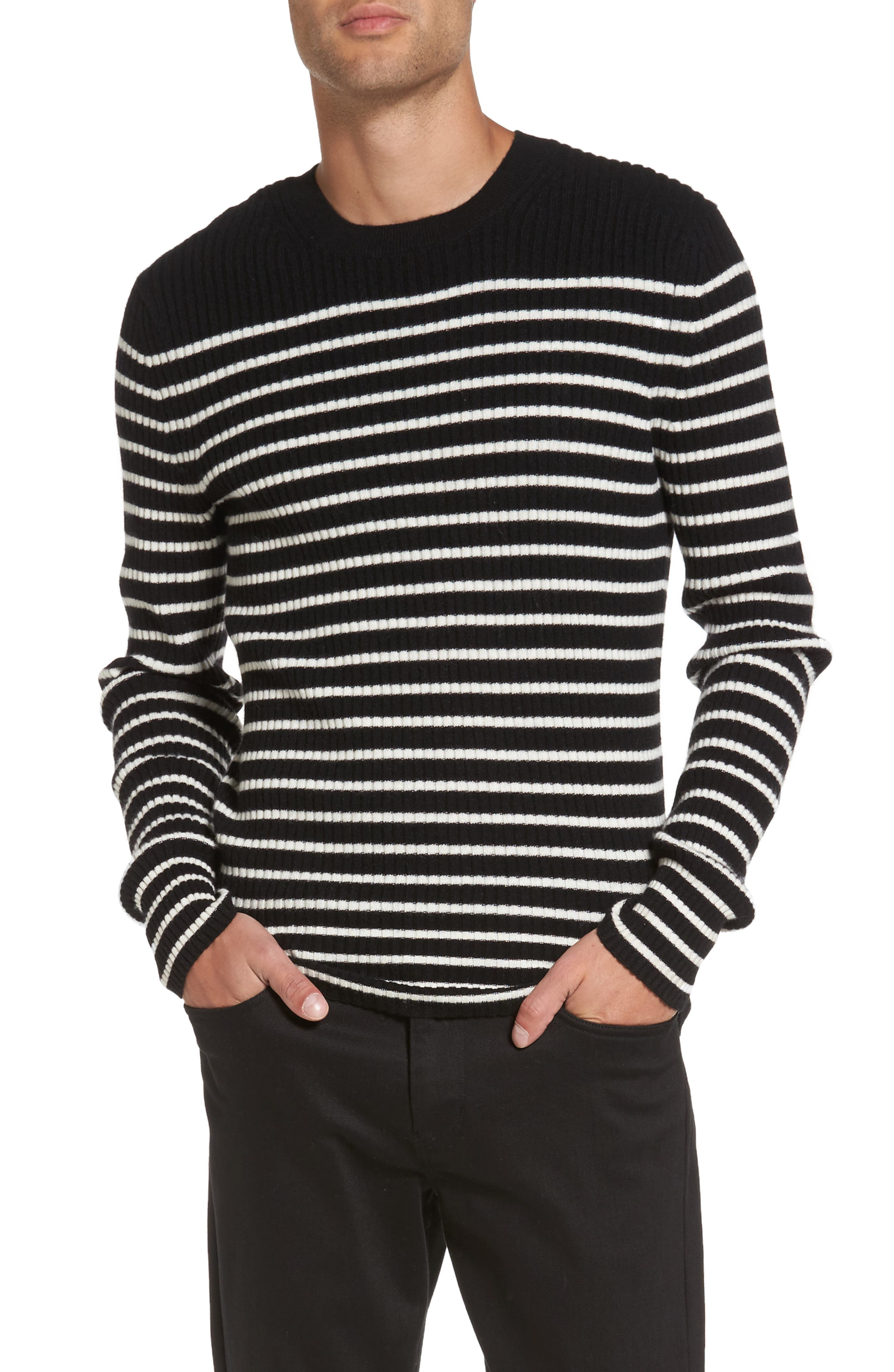 Slim Fit Breton Stripe Cashmere Crewneck Sweater,                         Main,                         color, Black/ Breeze