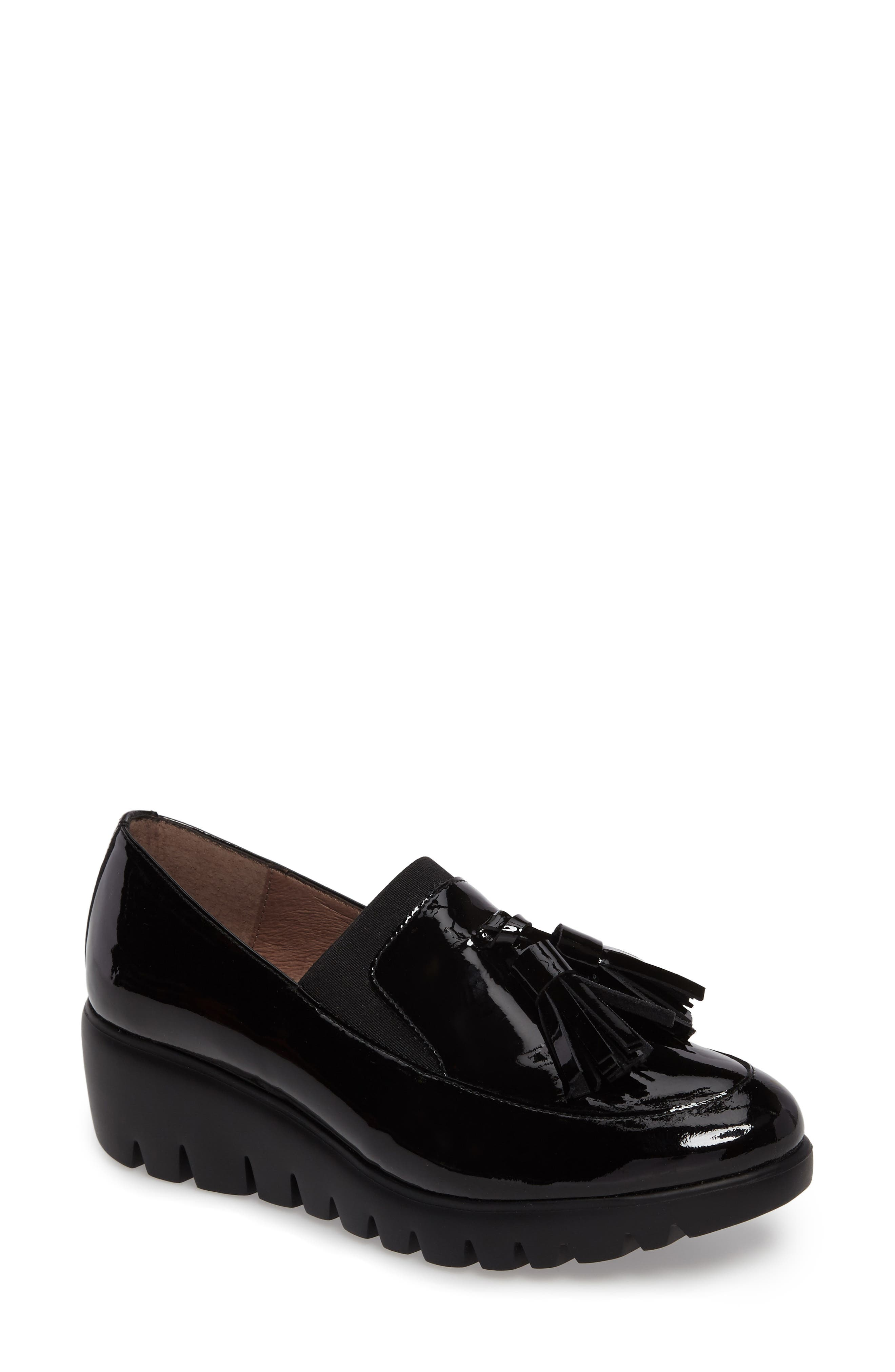 Talla Loafer Wedge,                             Main thumbnail 1, color,                             Black Patent Leather