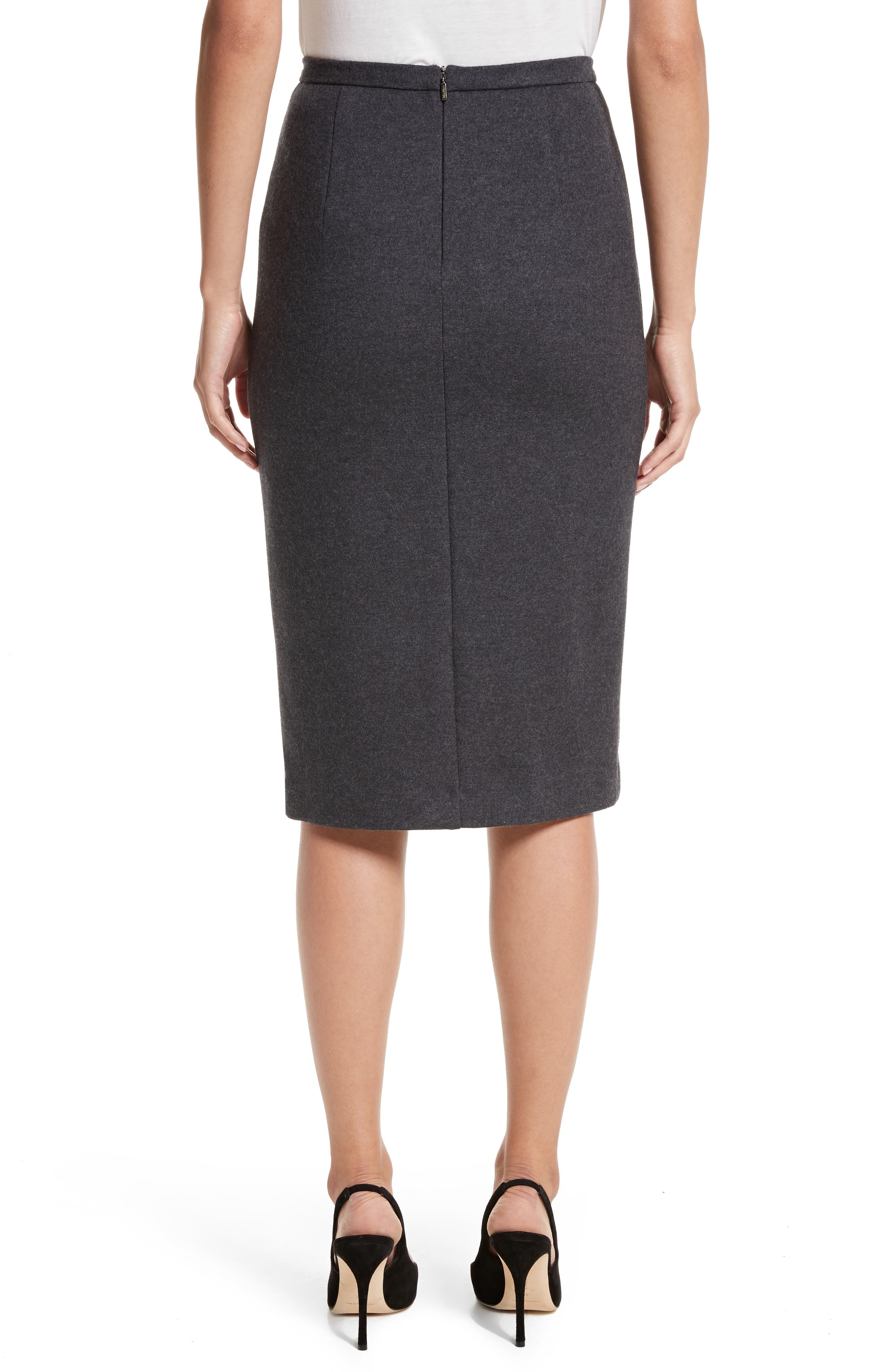 Nanna Leather Trim Wool Pencil Skirt,                             Alternate thumbnail 2, color,                             Dark Grey