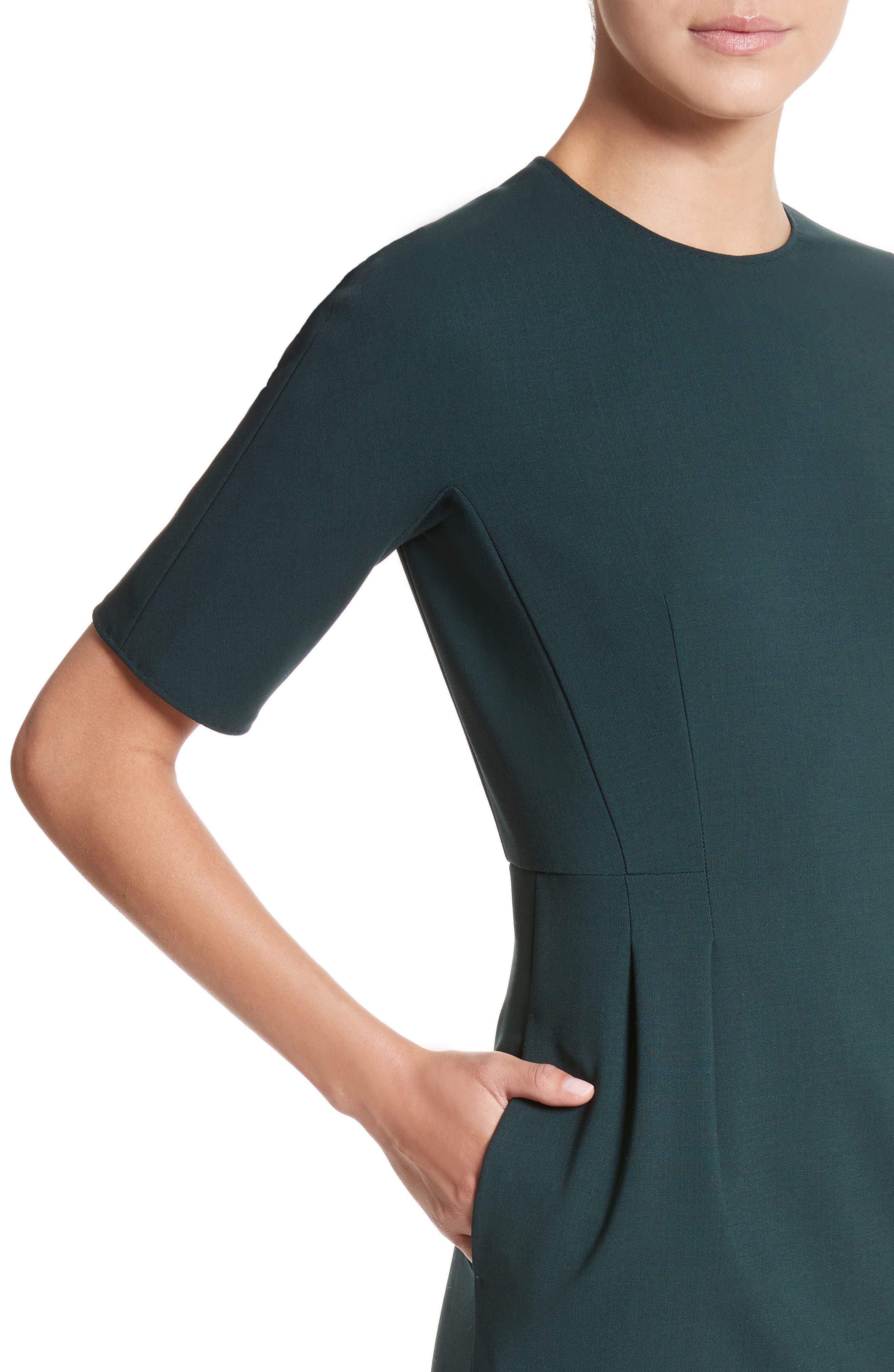 Umano Stretch Wool Sheath Dress,                             Alternate thumbnail 4, color,                             Dark Green