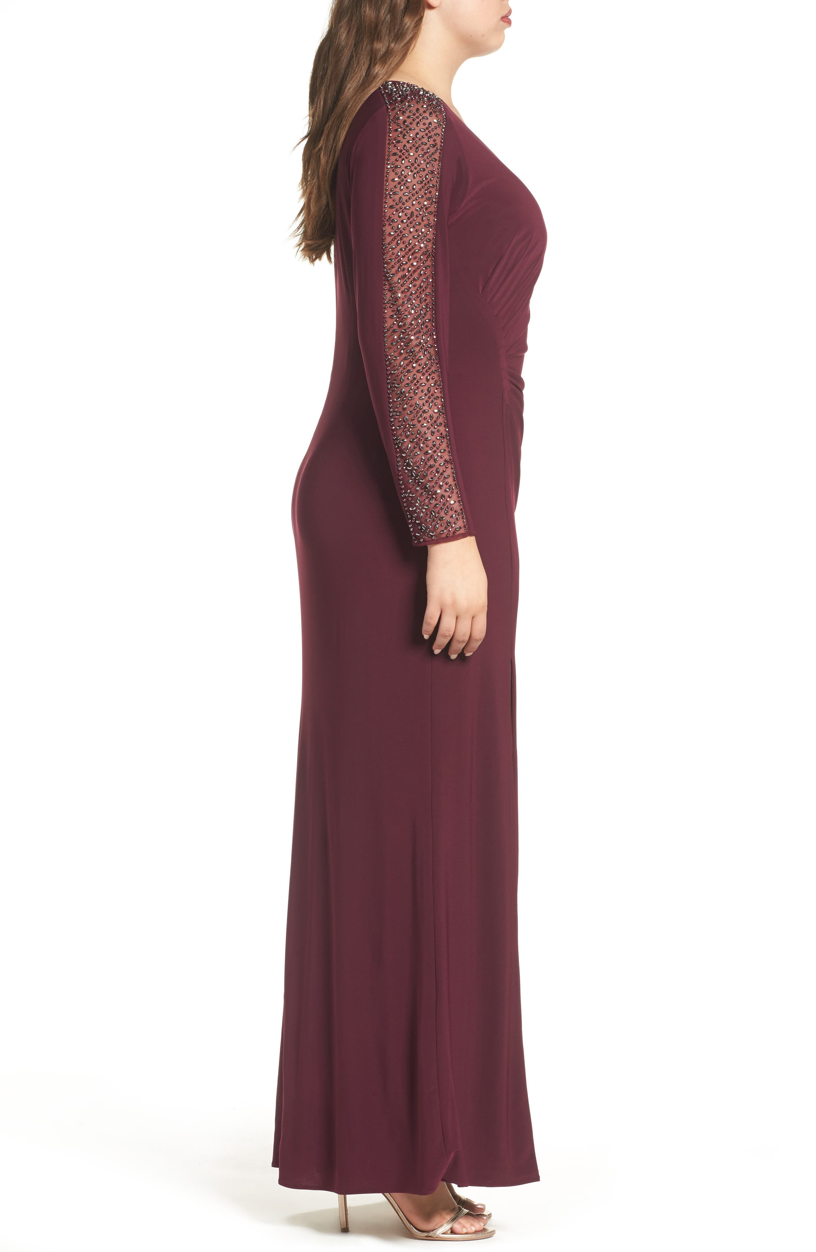 Alternate Image 3  - Xscape Embellished Jersey A-Line Gown (Plus Size)