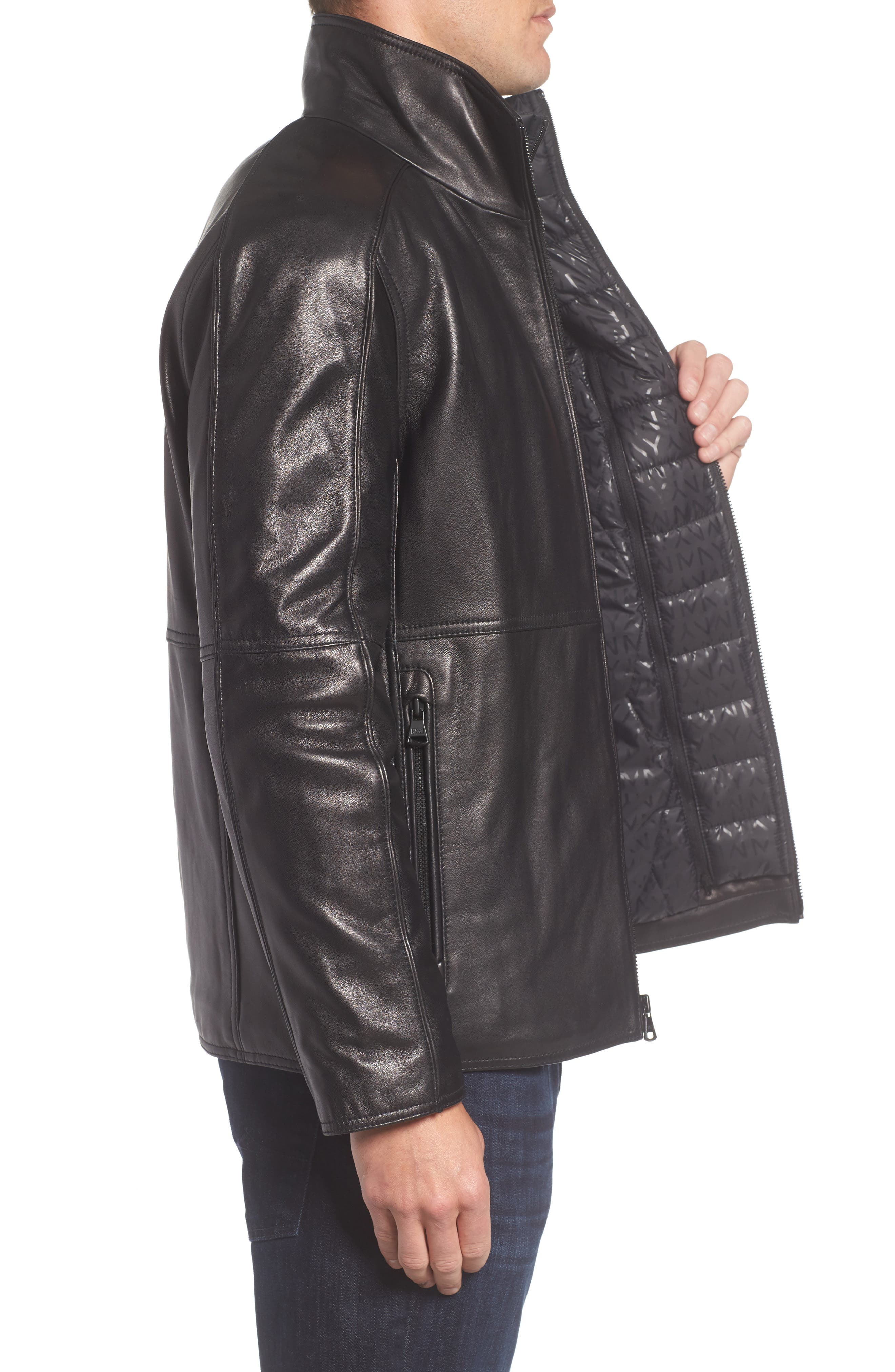 Leather Jacket with Quilted Insert,                             Alternate thumbnail 3, color,                             Black