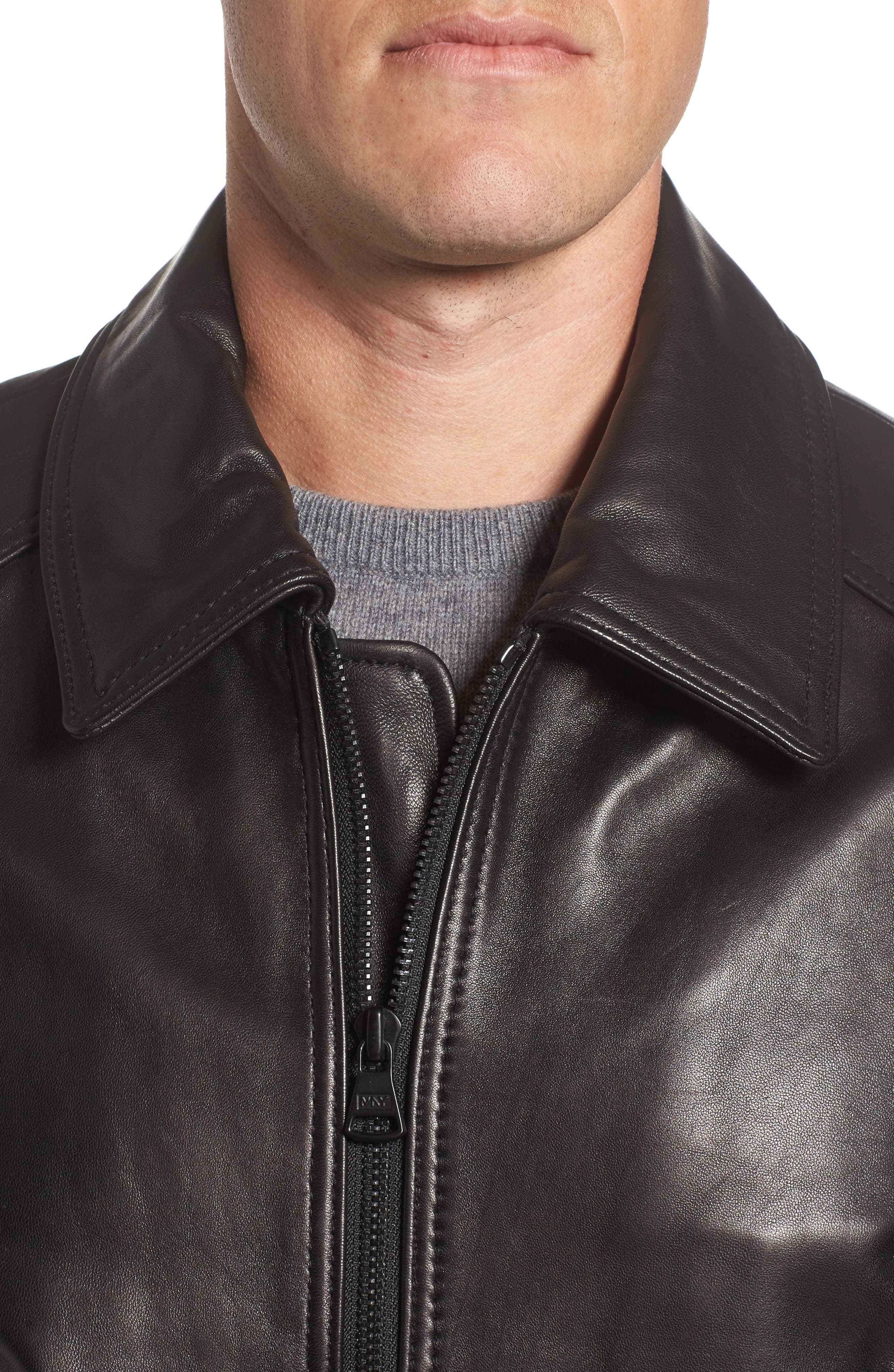 Andrew Marc Lambskin Leather Aviator Jacket,                             Alternate thumbnail 4, color,                             Black