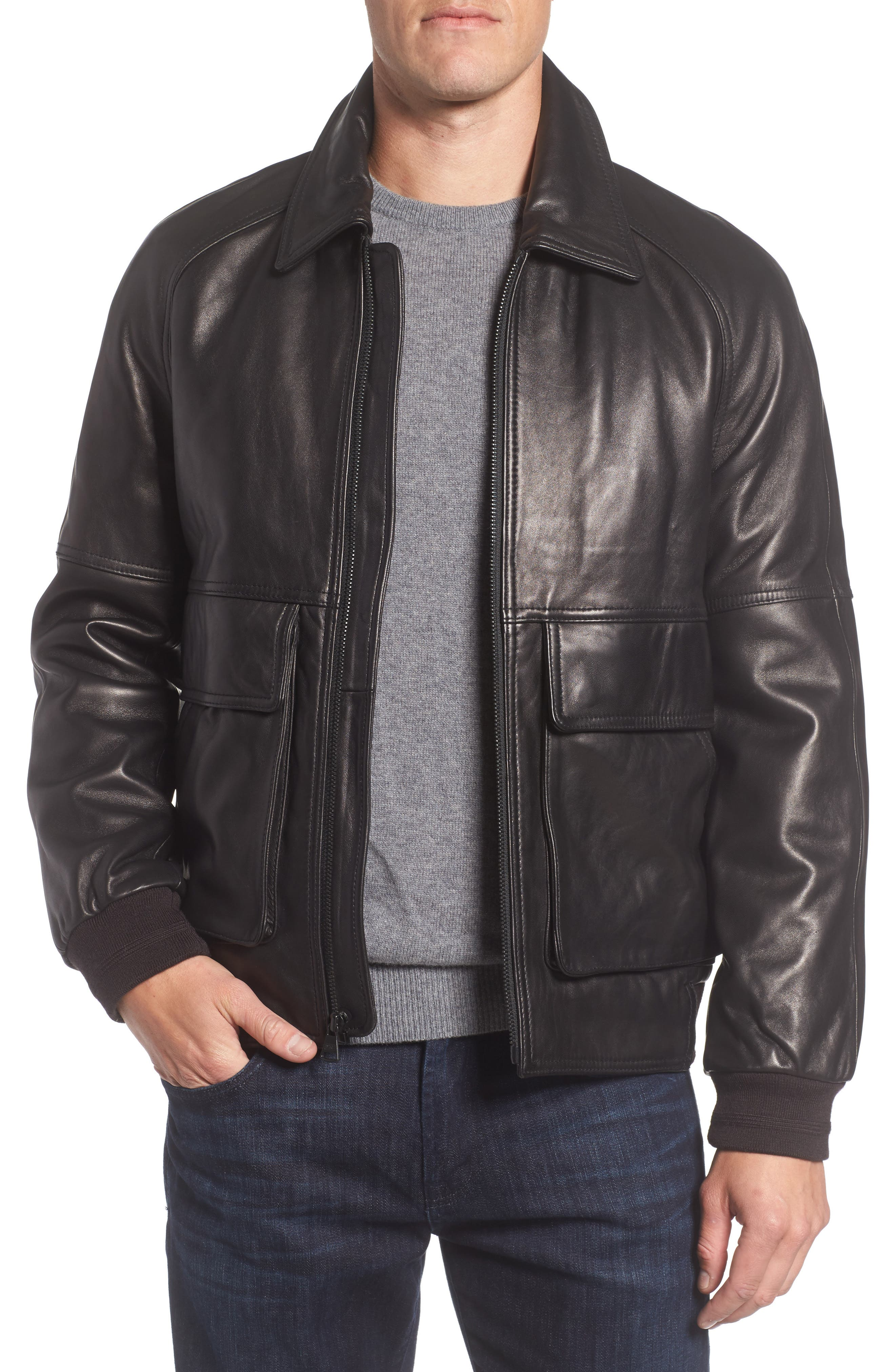 Andrew Marc Lambskin Leather Aviator Jacket,                         Main,                         color, Black
