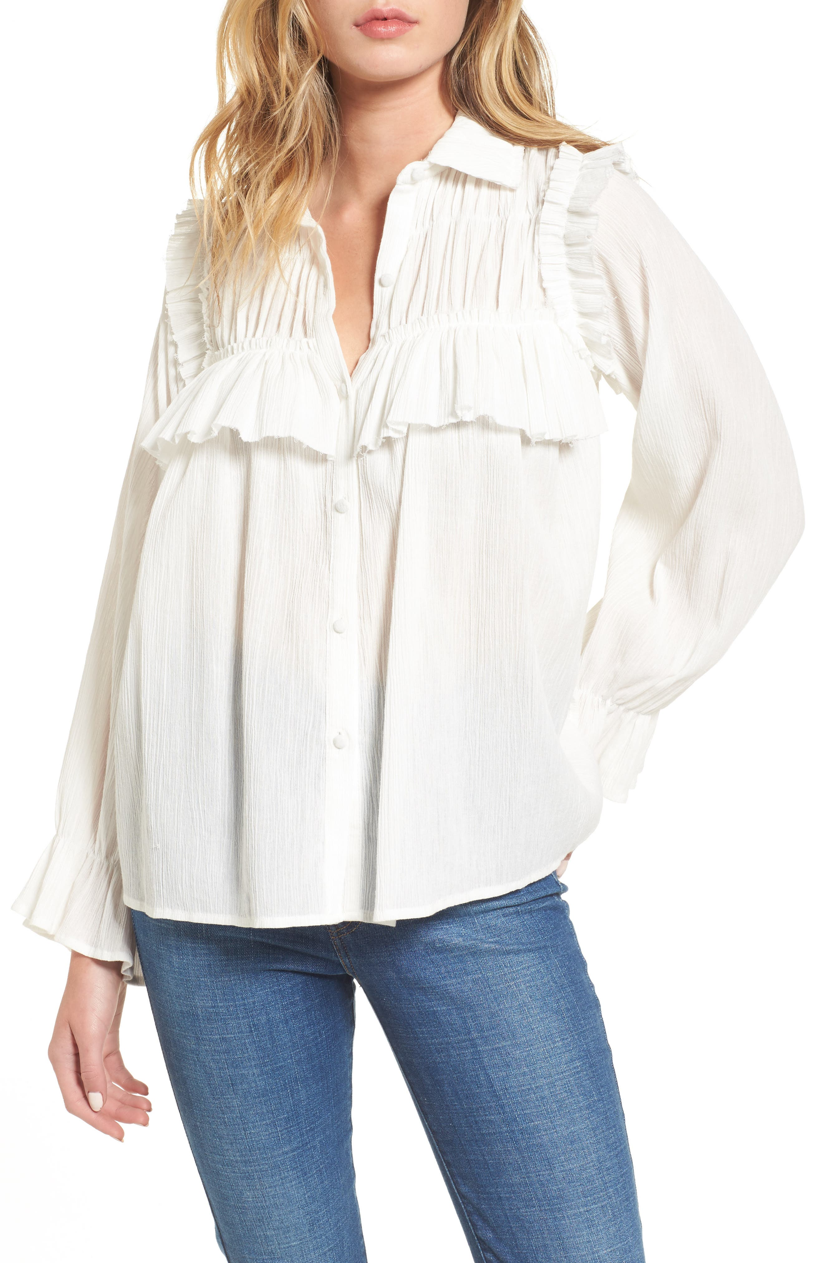 MOON RIVER Ruffle Cotton Blouse