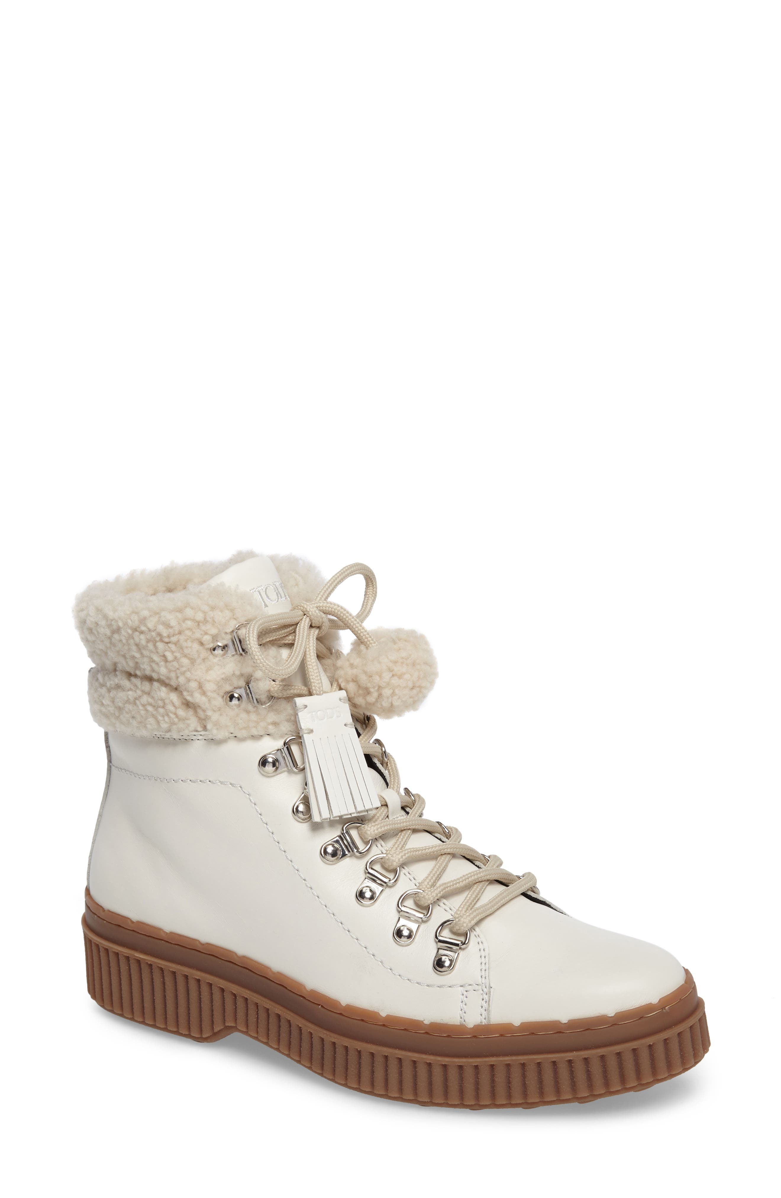 TODS Genuine Shearling Trim Hiker Boot