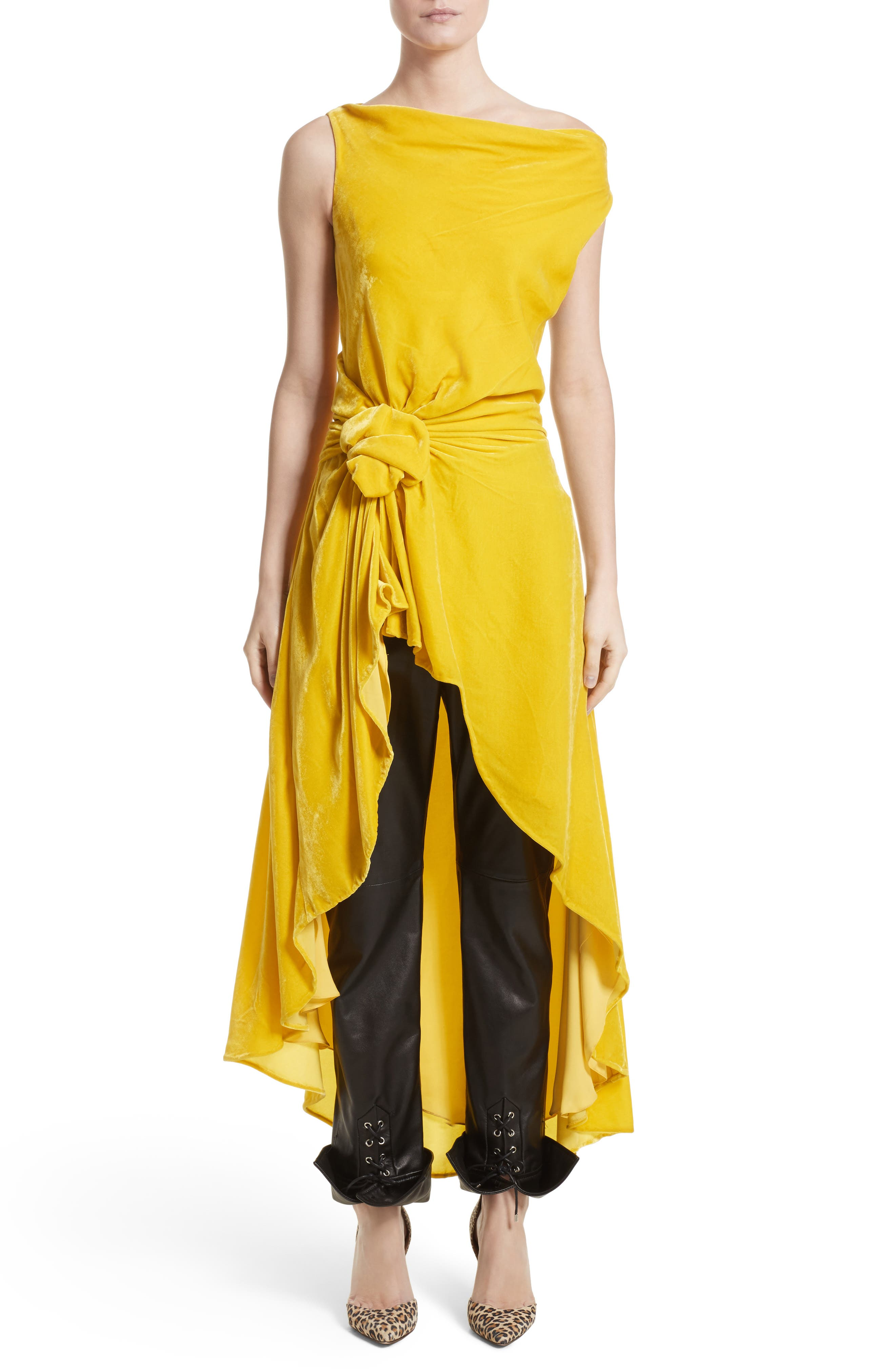 Knotted Velvet High/Low Top,                         Main,                         color, Yellow