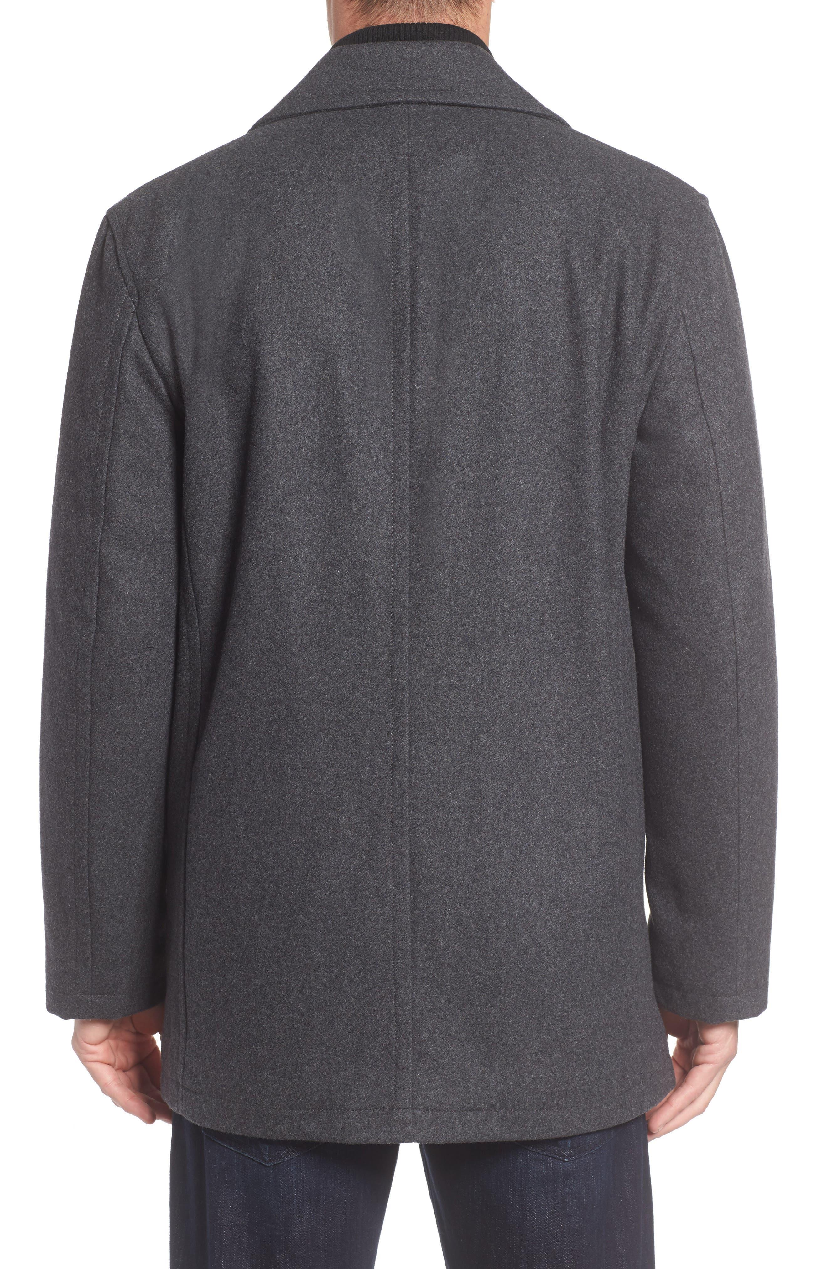 Burnett Wool Blend Peacoat with Front Insert,                             Alternate thumbnail 2, color,                             Charcoal