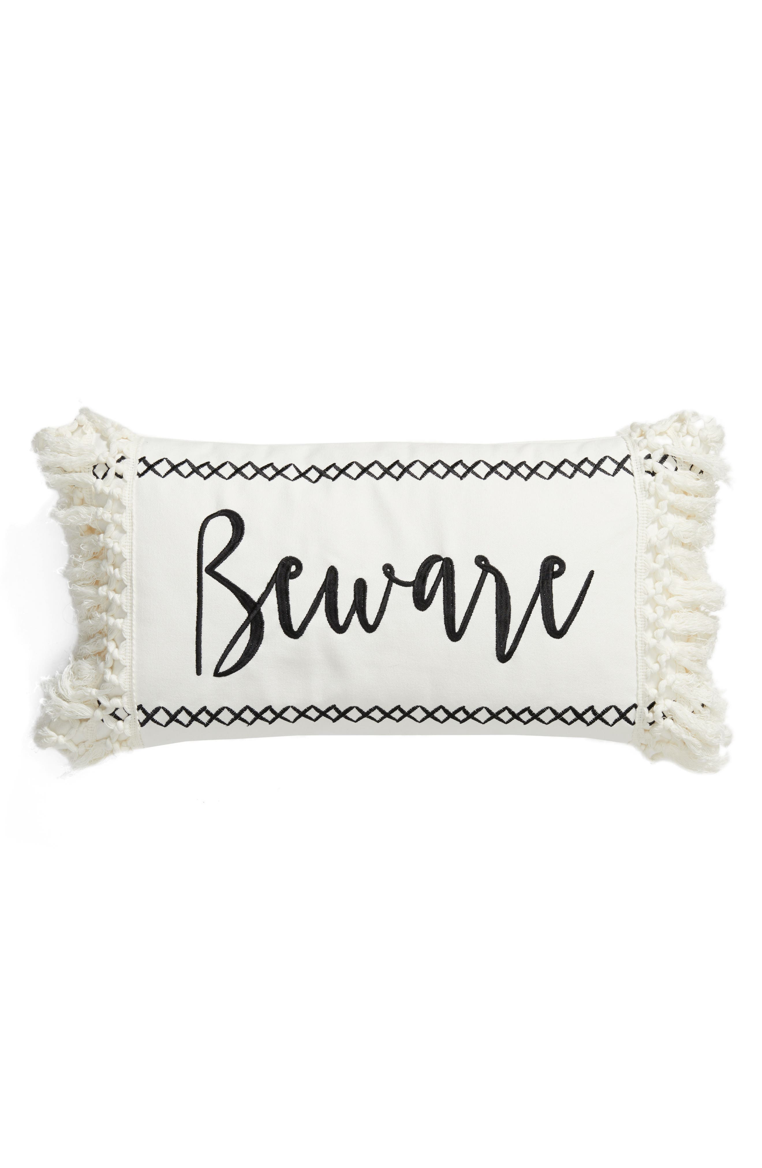 Beware Accent Pillow,                         Main,                         color, Ivory