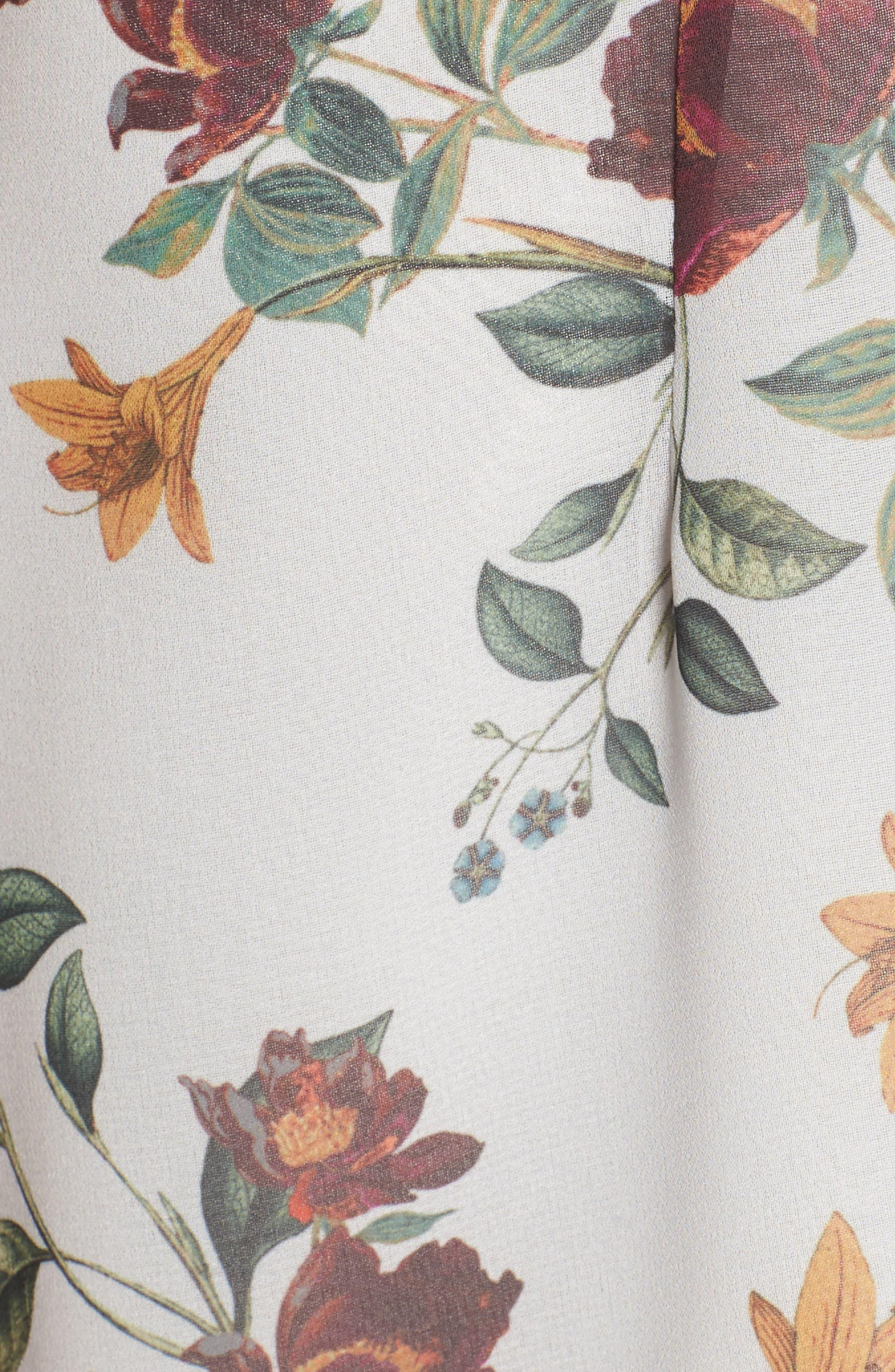 Twilight Dreams Cold Shoulder Romper,                             Alternate thumbnail 6, color,                             Grey Garden Floral