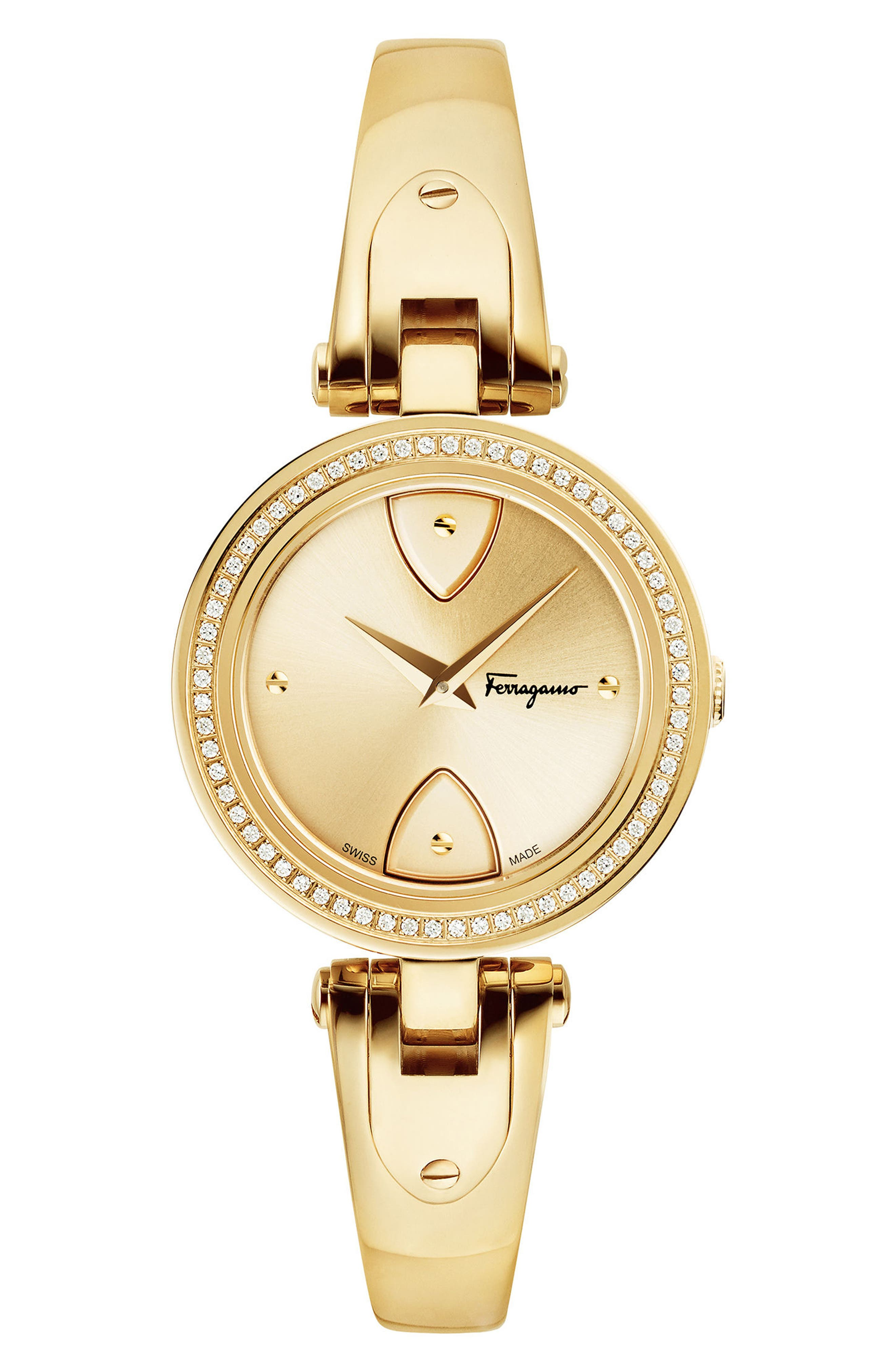 Salvatore Ferragamo Giglio Diamond Bangle Watch, 32mm