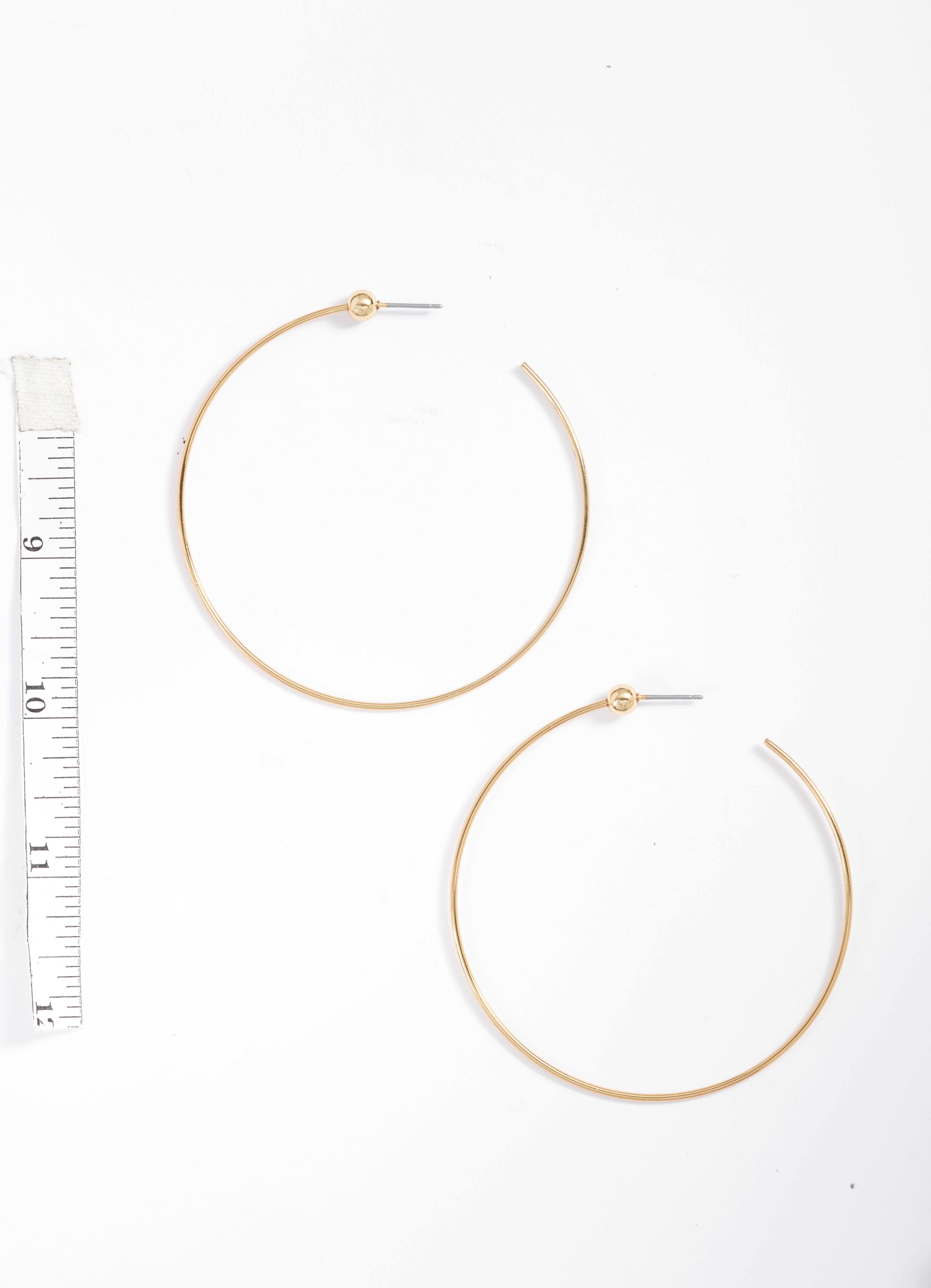 Medium Hoop Earrings,                             Alternate thumbnail 2, color,                             Gold