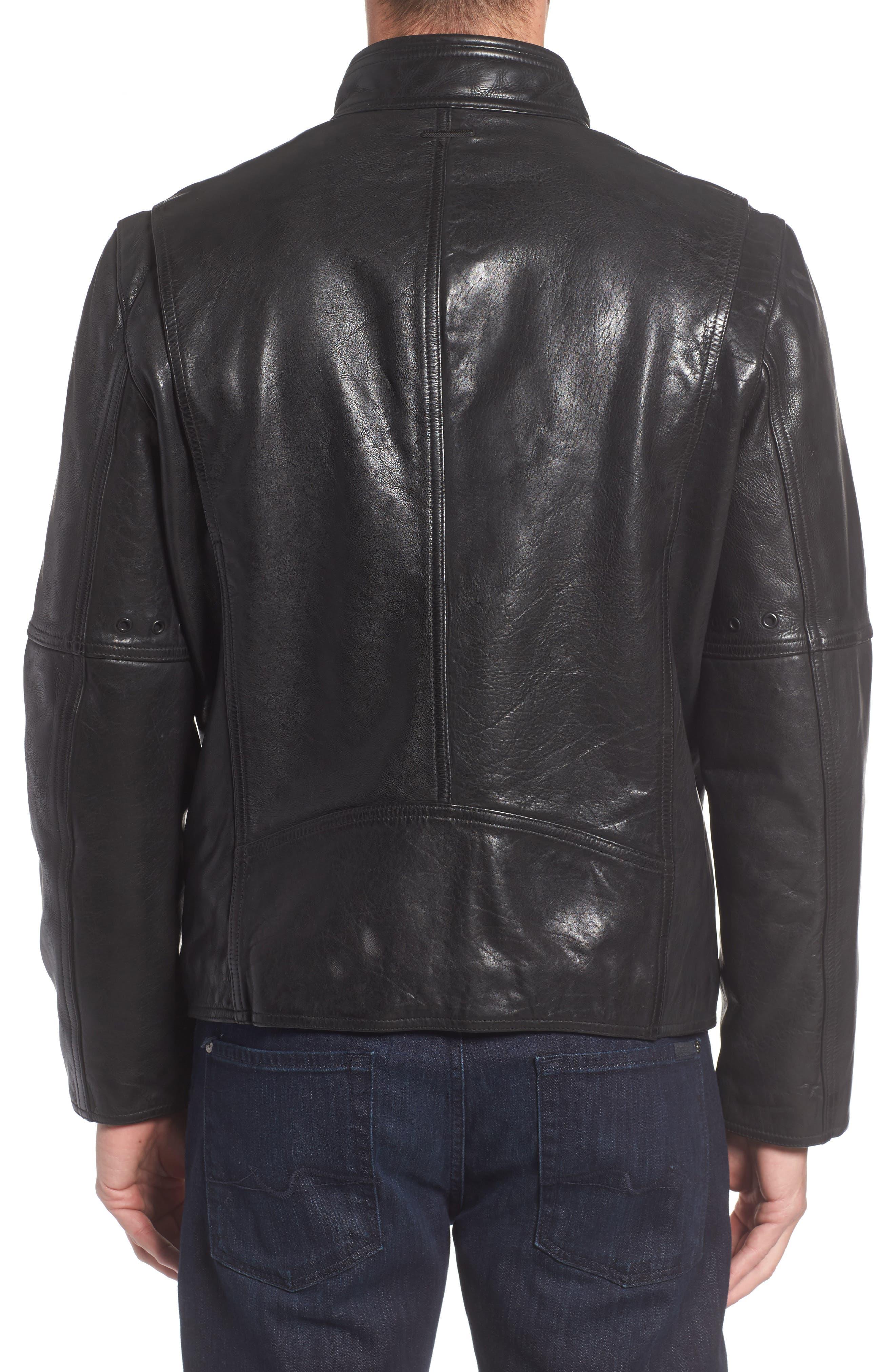 Alternate Image 2  - Marc New York Calfskin Leather Moto Jacket