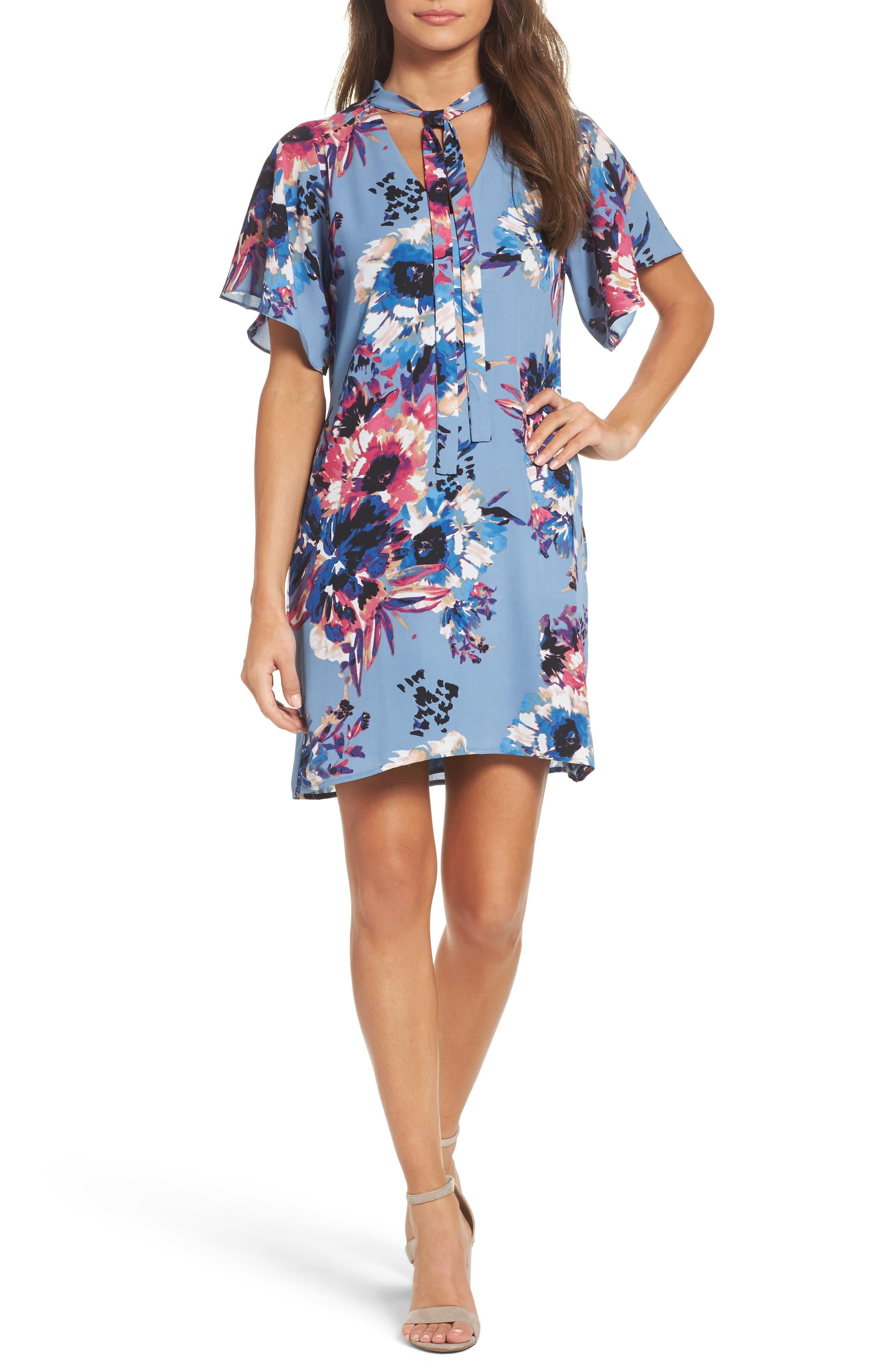 Tie Neck Shift Dress,                         Main,                         color, Blue Floral