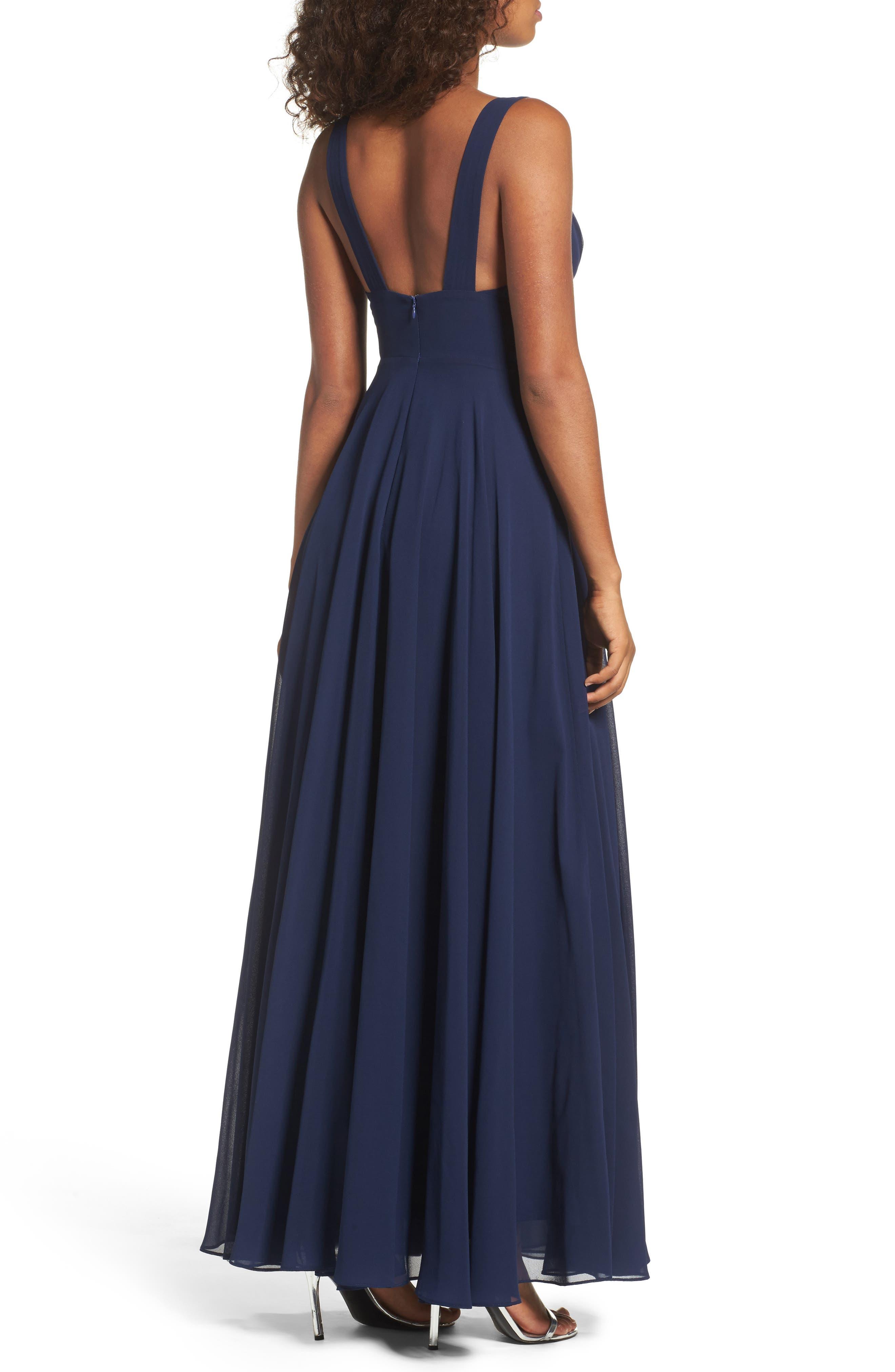 Alternate Image 2  - Lulus Lace Trim Chiffon Maxi Dress