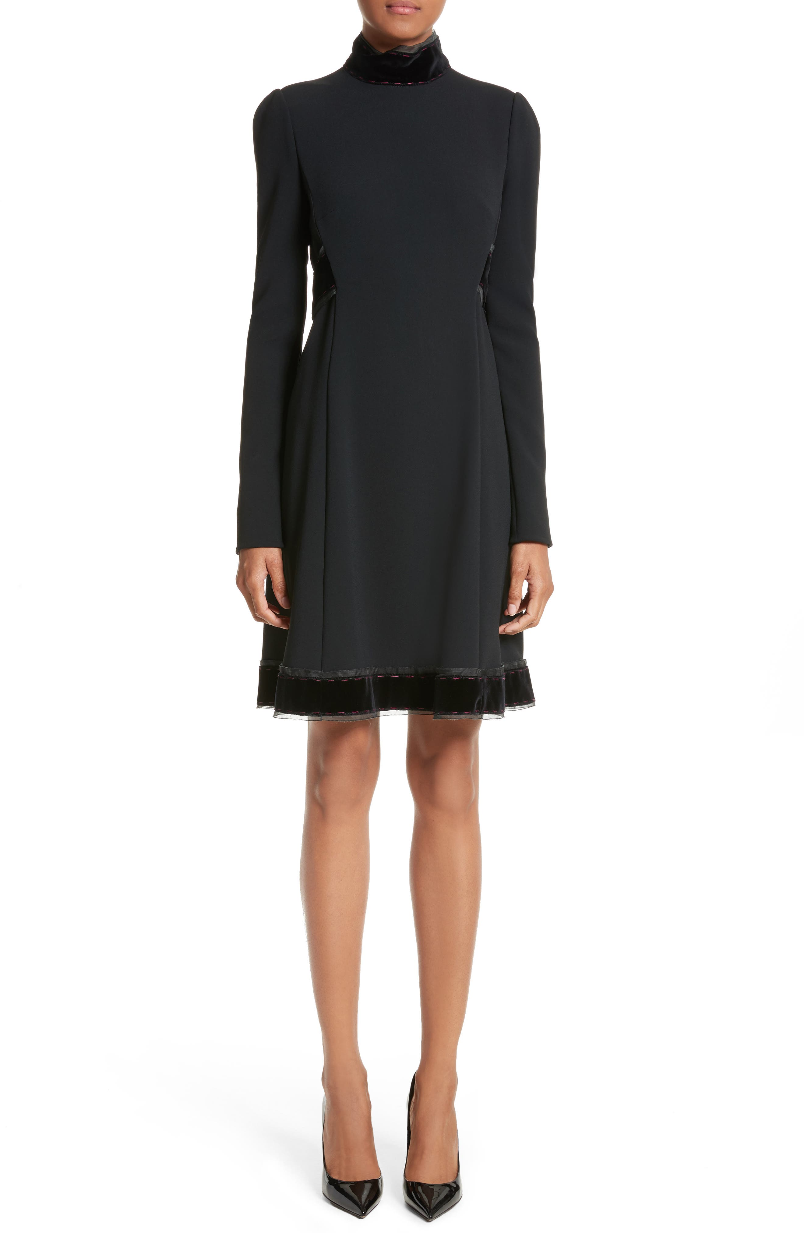 Dolce&Gabbana Velvet Trim Cady Turtleneck Dress