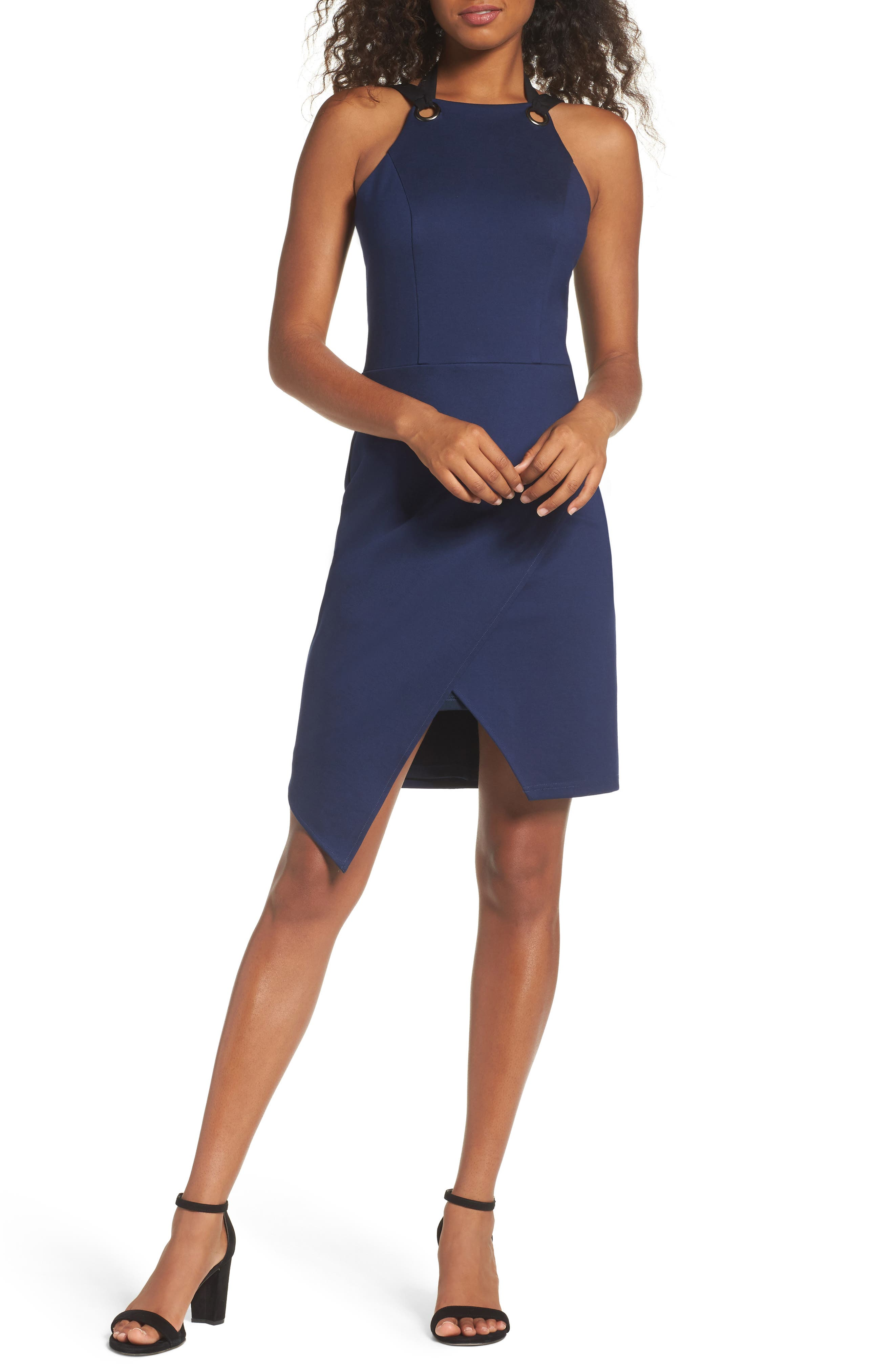 Brandi Tie Back Sheath Dress,                             Main thumbnail 1, color,                             Navy