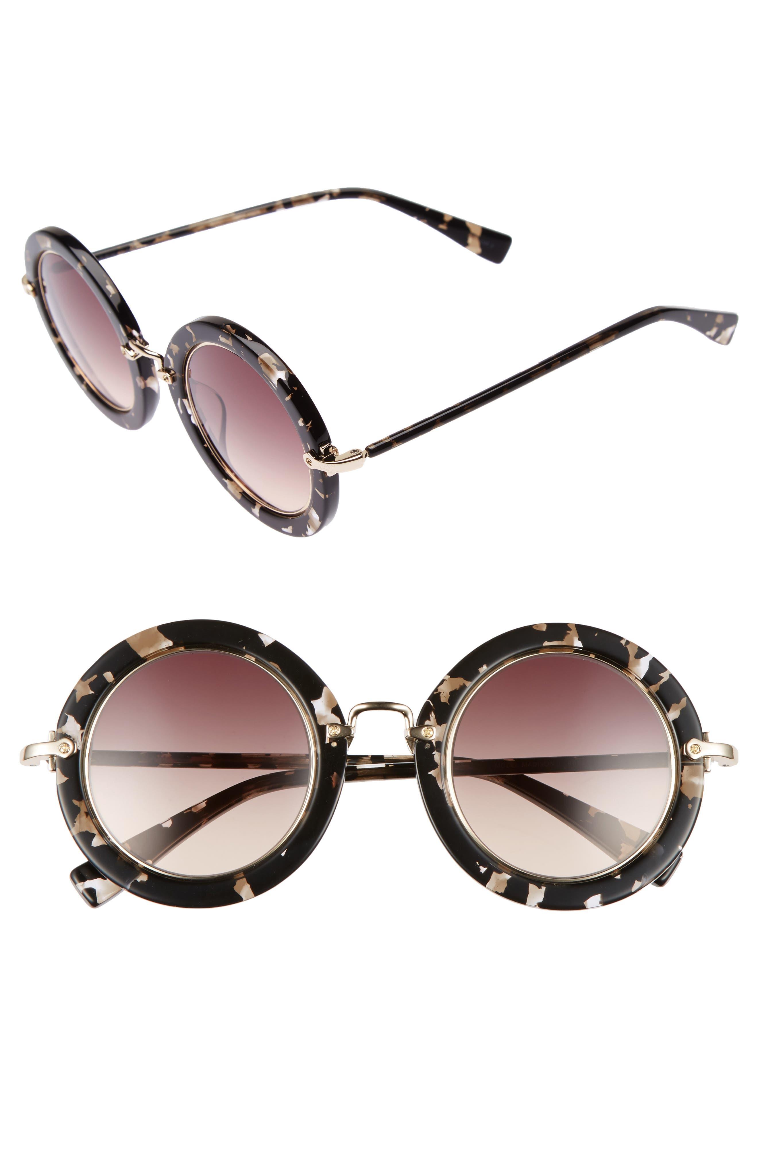Madison 46mm Round Sunglasses,                         Main,                         color, Black Crystal Tortoise