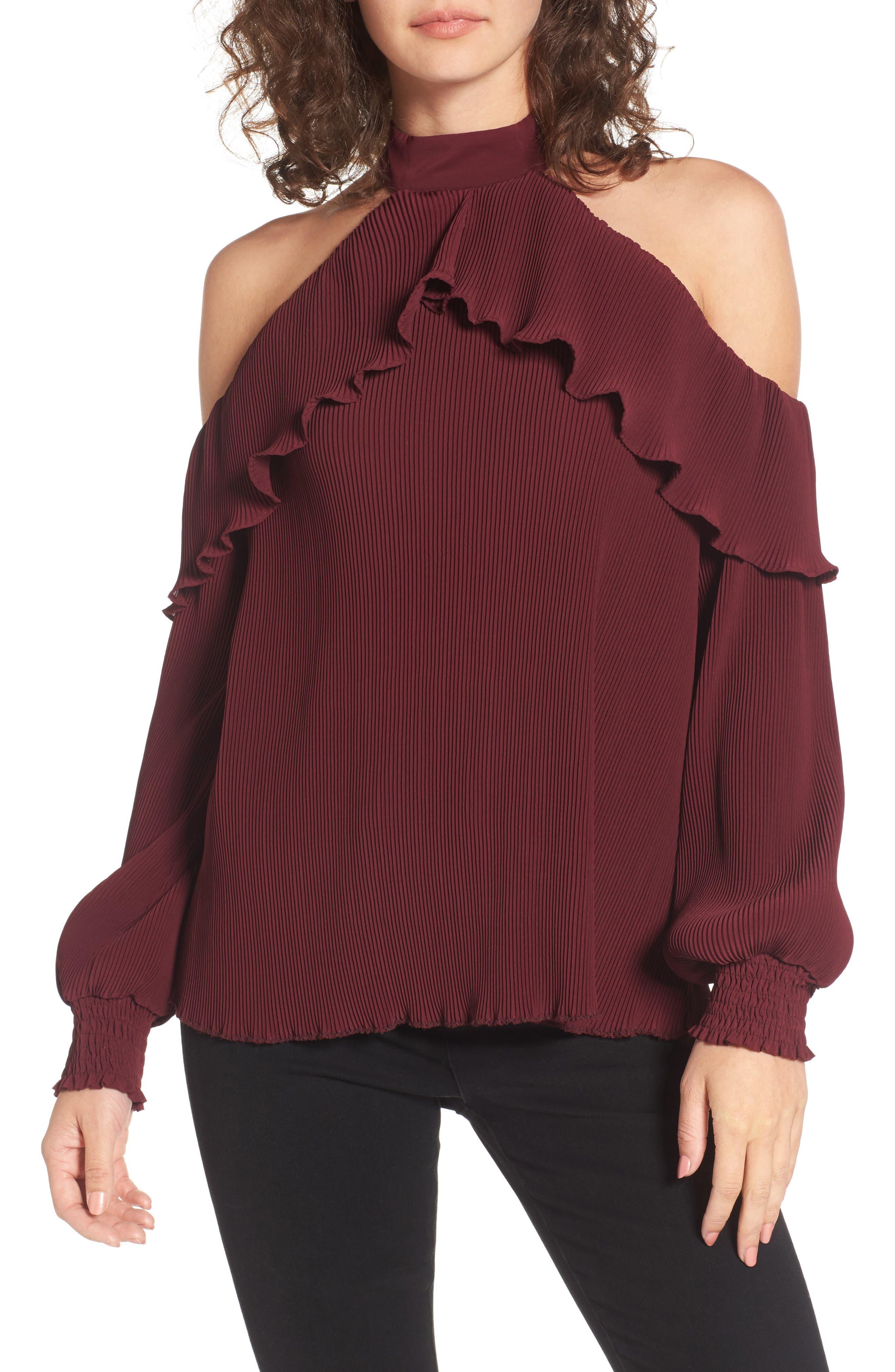 Brinley Ruffle Cold Shoulder Top,                         Main,                         color, Oxblood