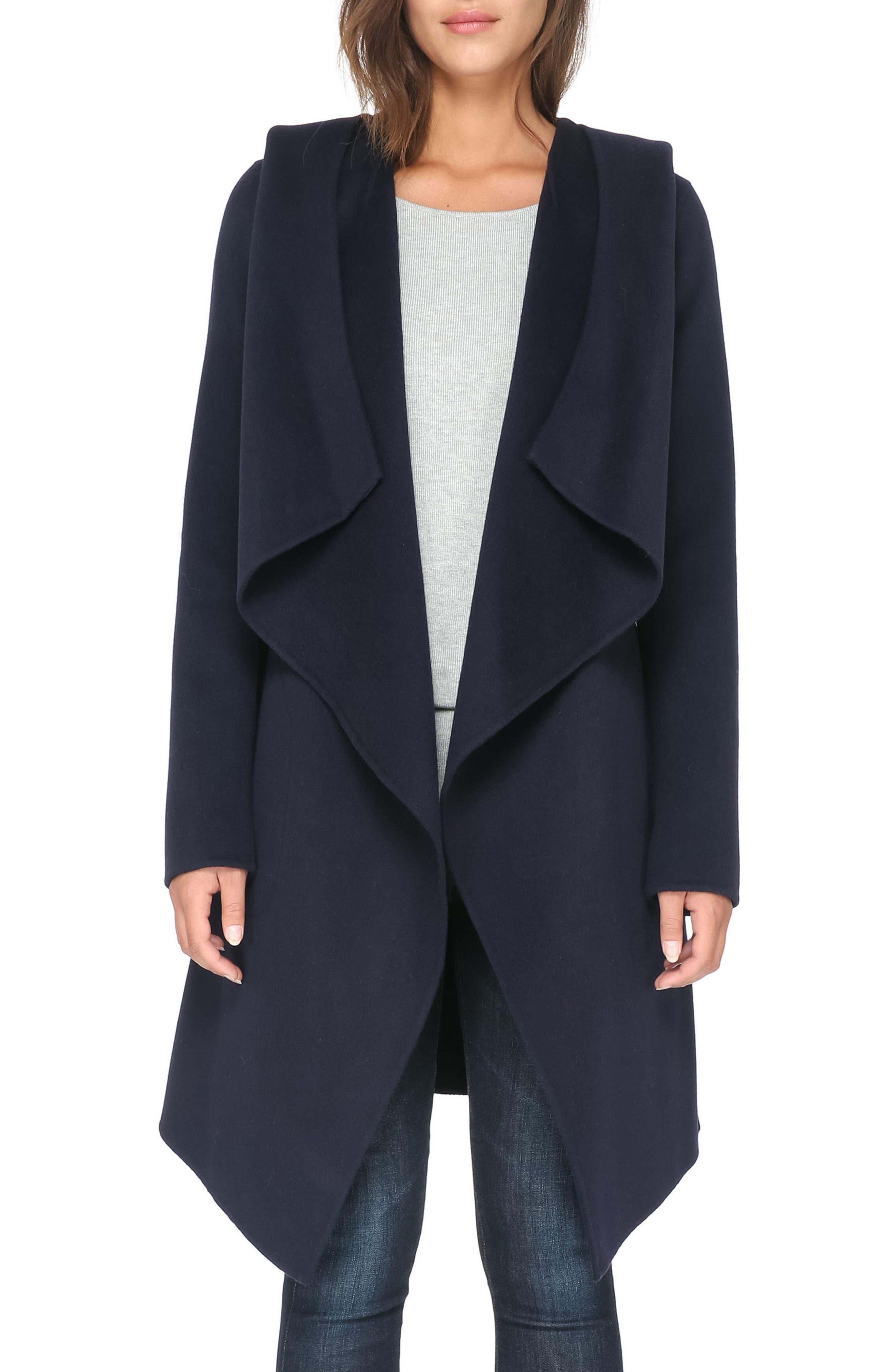 Reversible Double Face Wool Blend Coat,                         Main,                         color, Indigo
