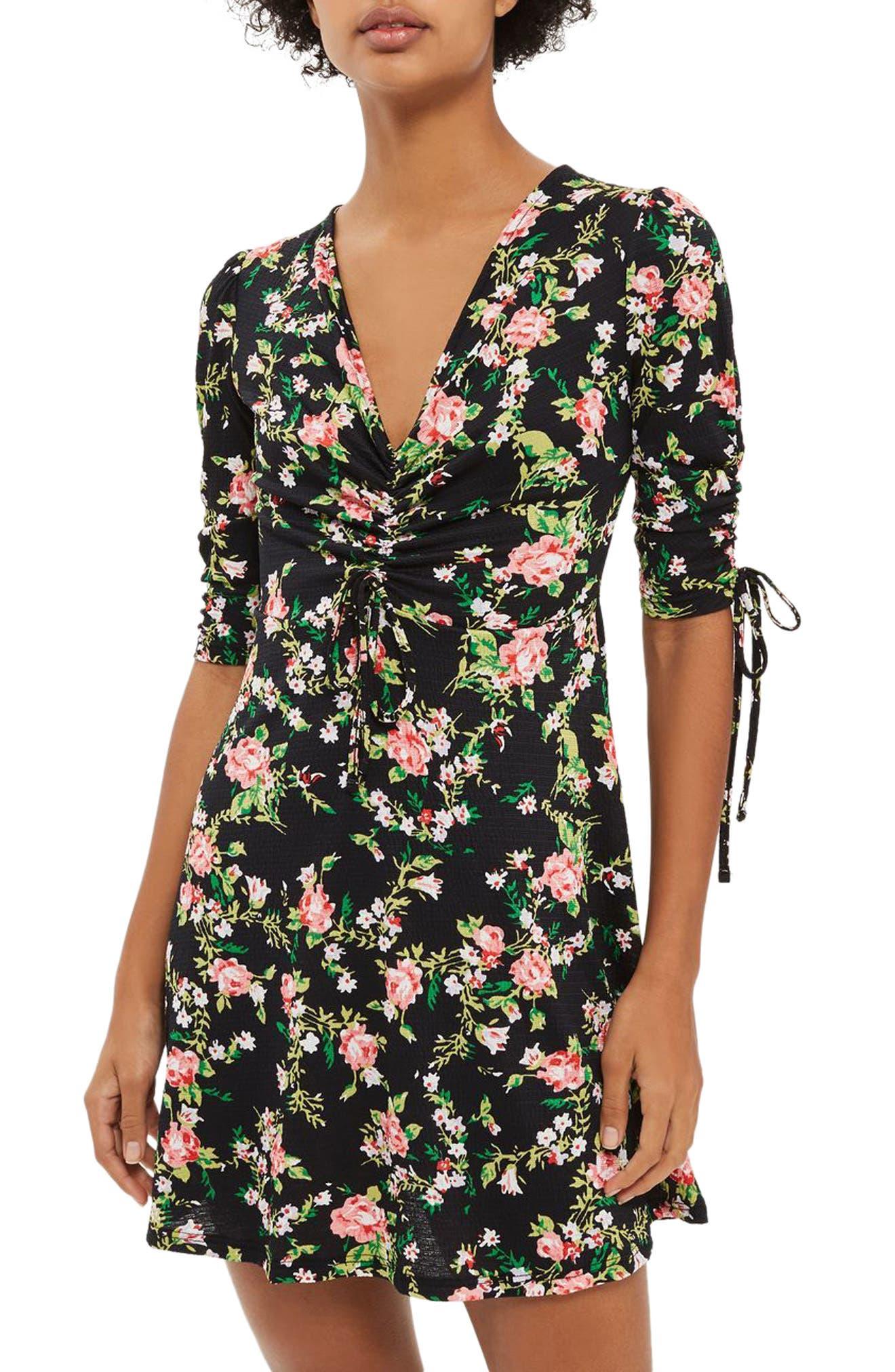 TOPSHOP Floral Ruched Tea Dress