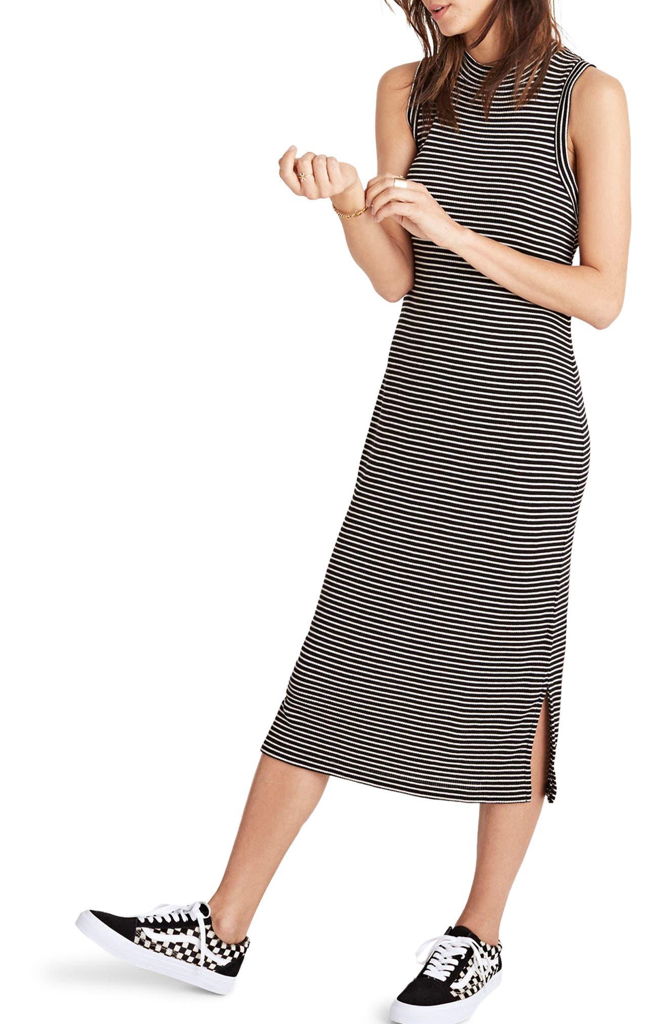 Ribbed Mock Neck Midi Dress,                             Main thumbnail 1, color,                             True Black