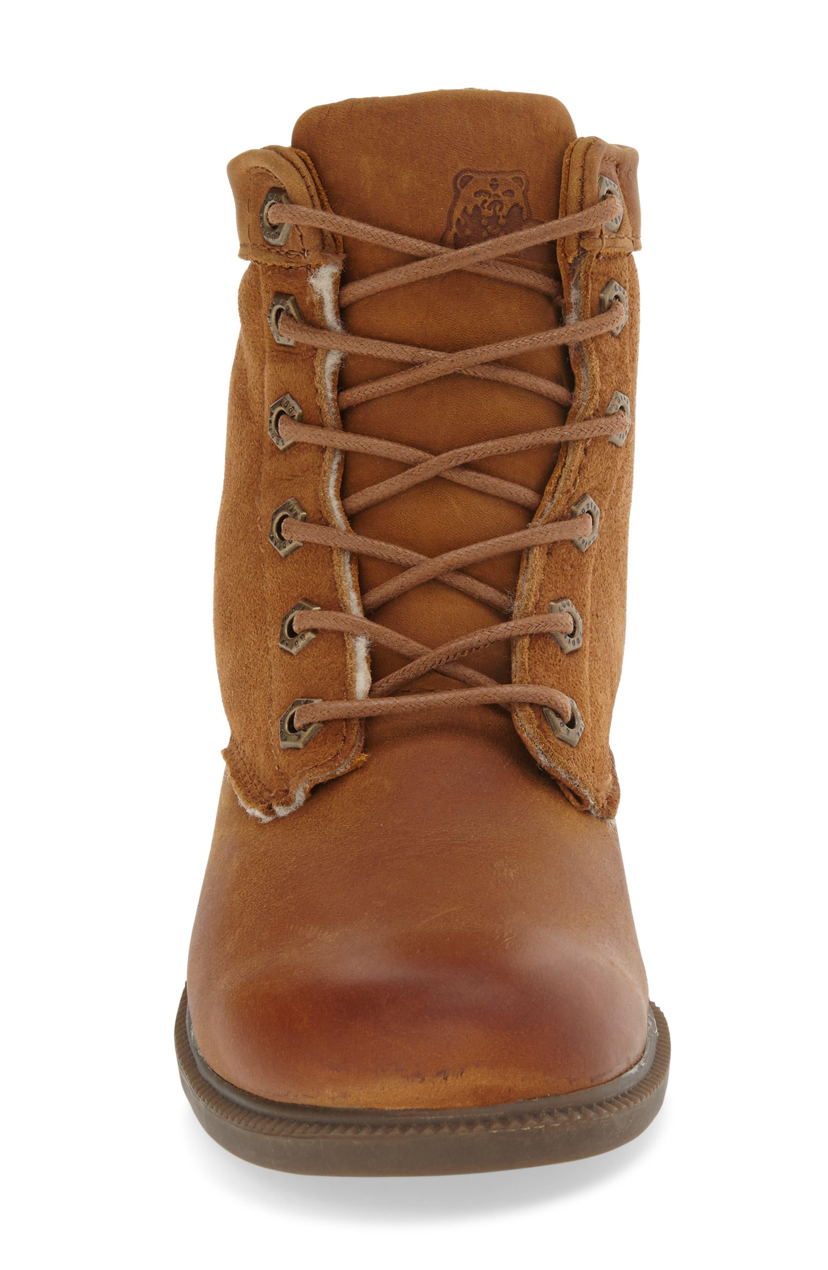 Original Waterproof Genuine Shearling Boot,                             Alternate thumbnail 3, color,                             Caramel Leather