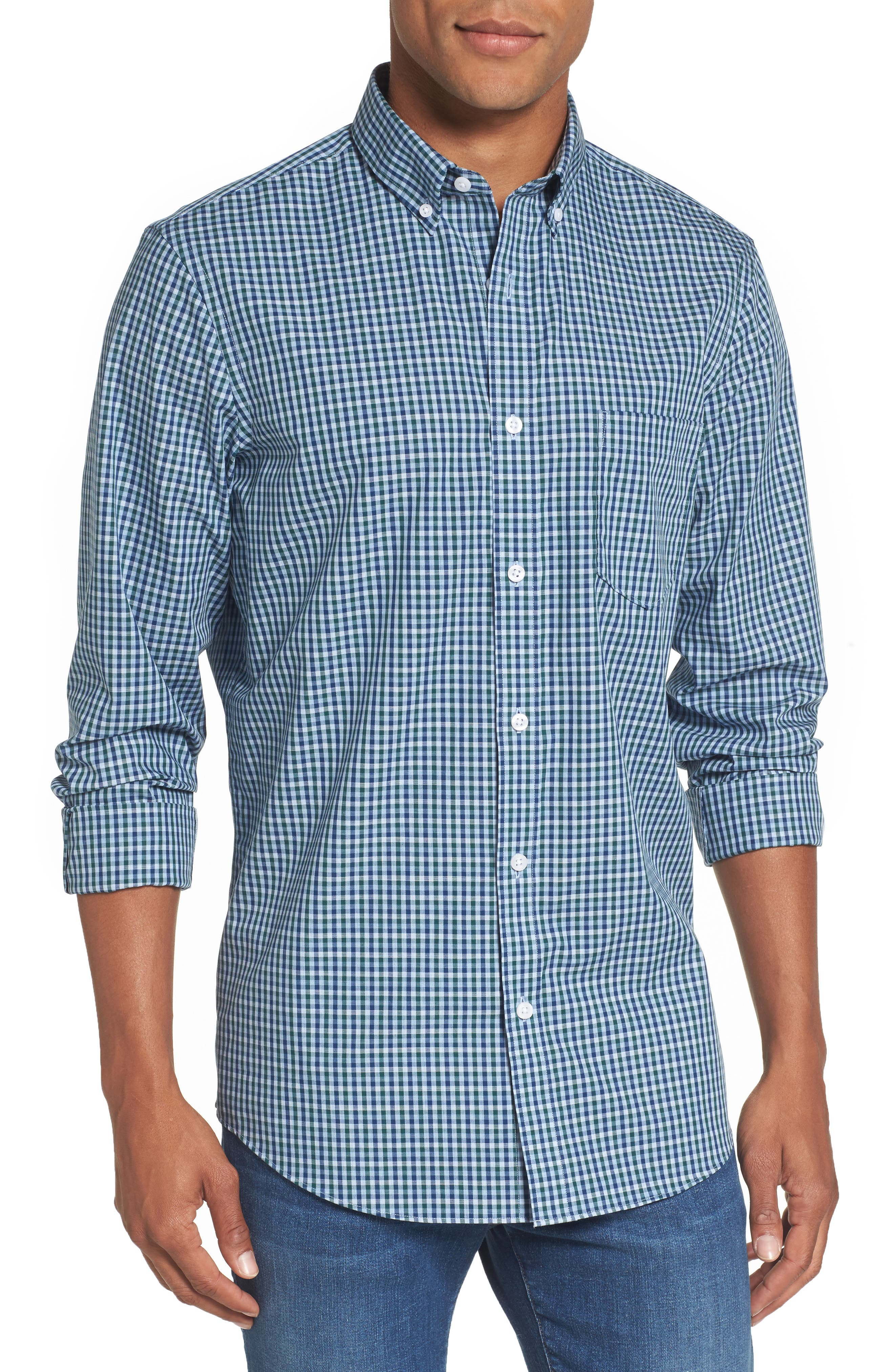 Nordstrom Men's Shop Regular Fit Non-Iron Mini Check Sport Shirt (Regular & Tall)