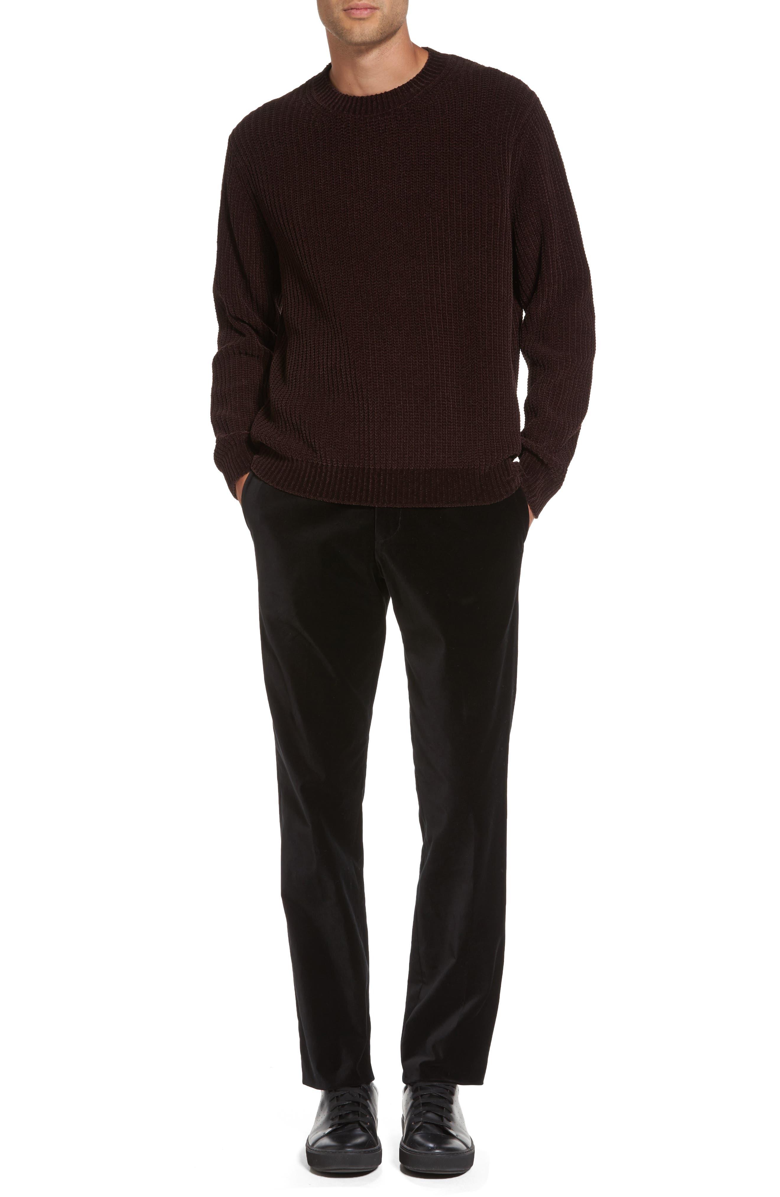 Velvet Trousers,                             Alternate thumbnail 7, color,                             Black