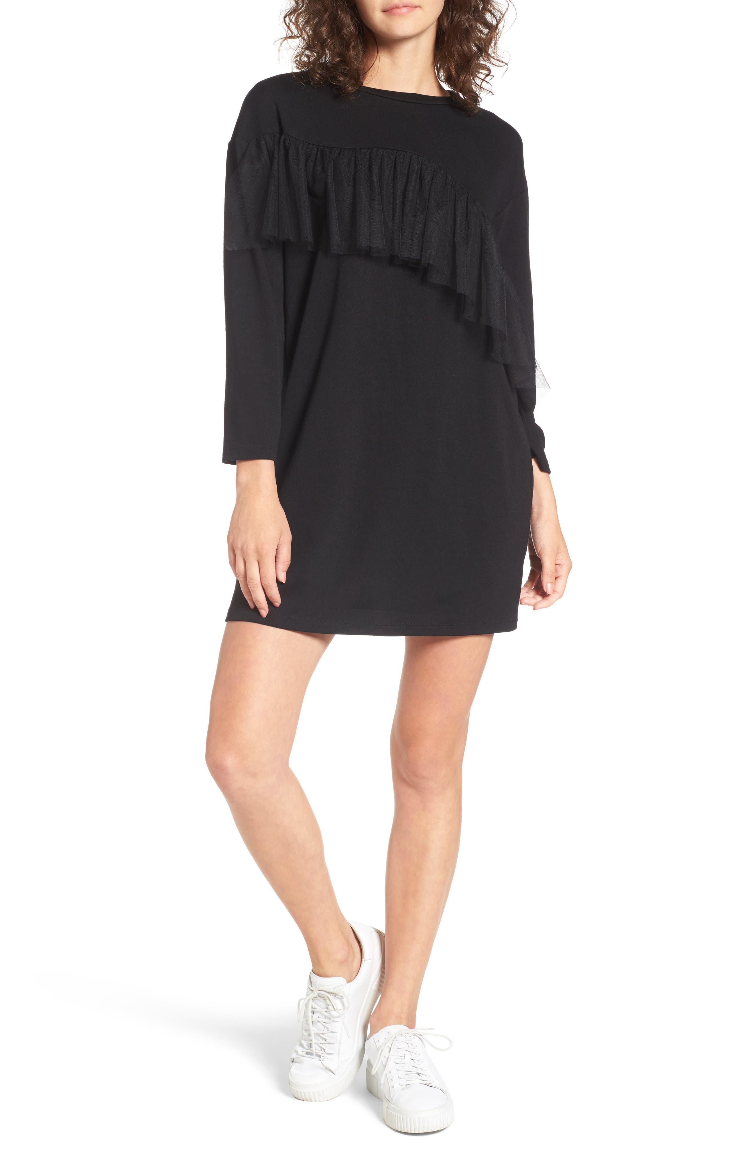 Tulle Ruffle Sweatshirt Dress,                         Main,                         color, Black