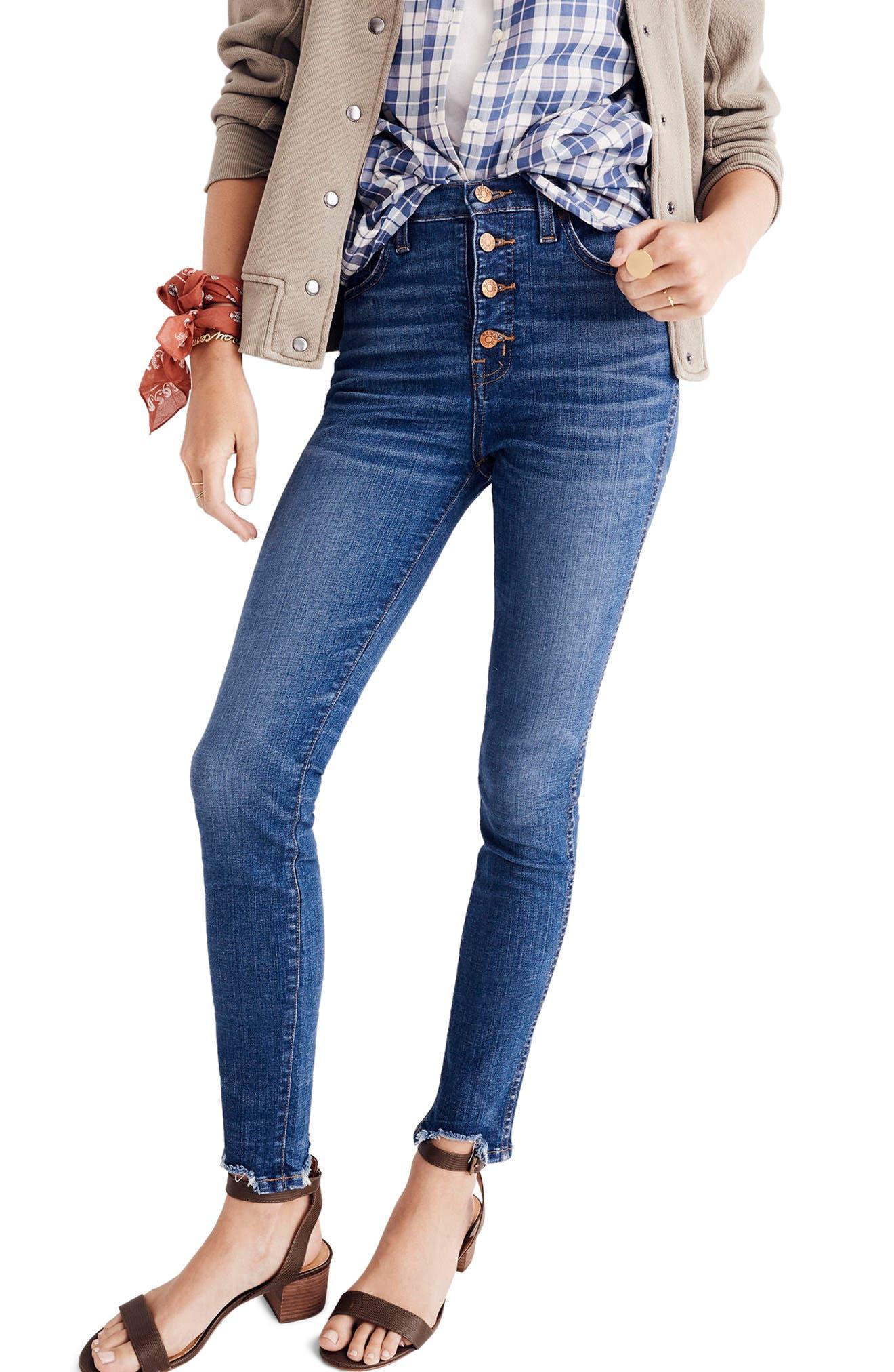 Main Image - Madewell 10-Inch Chewed Hem Skinny Jeans (Copeland)